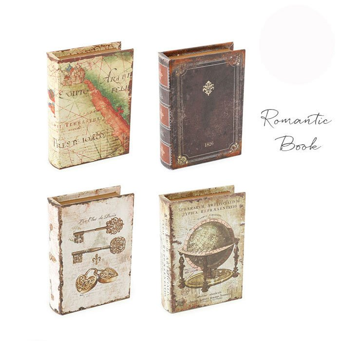 アンティークの洋書みたい ロマンティックなブック型ボックスS