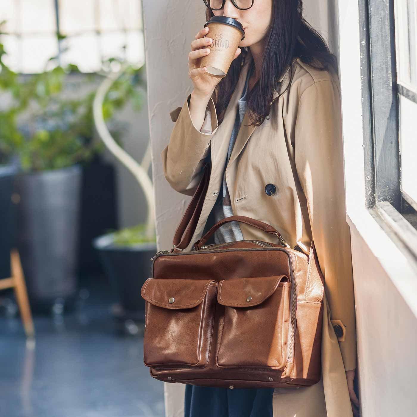 アンティーク仕上げレザーで誂(あつら)えた チョコレートバイヤー理想のお仕事バッグ〈ヴィンテージブラウン〉[本革 鞄:日本製]