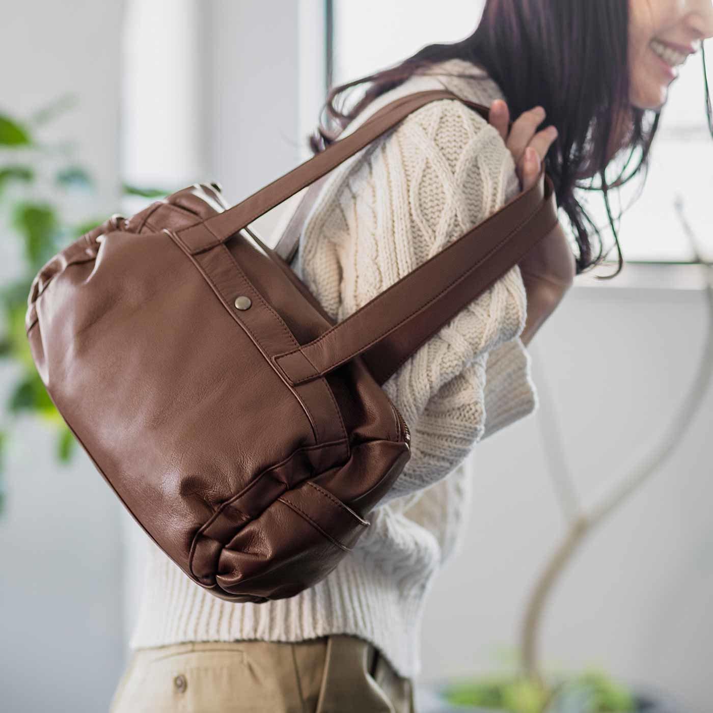 [2012年発売モデル] オールレザー くったりボストンバッグ〈チョコレートブラウン〉[本革 鞄:日本製]