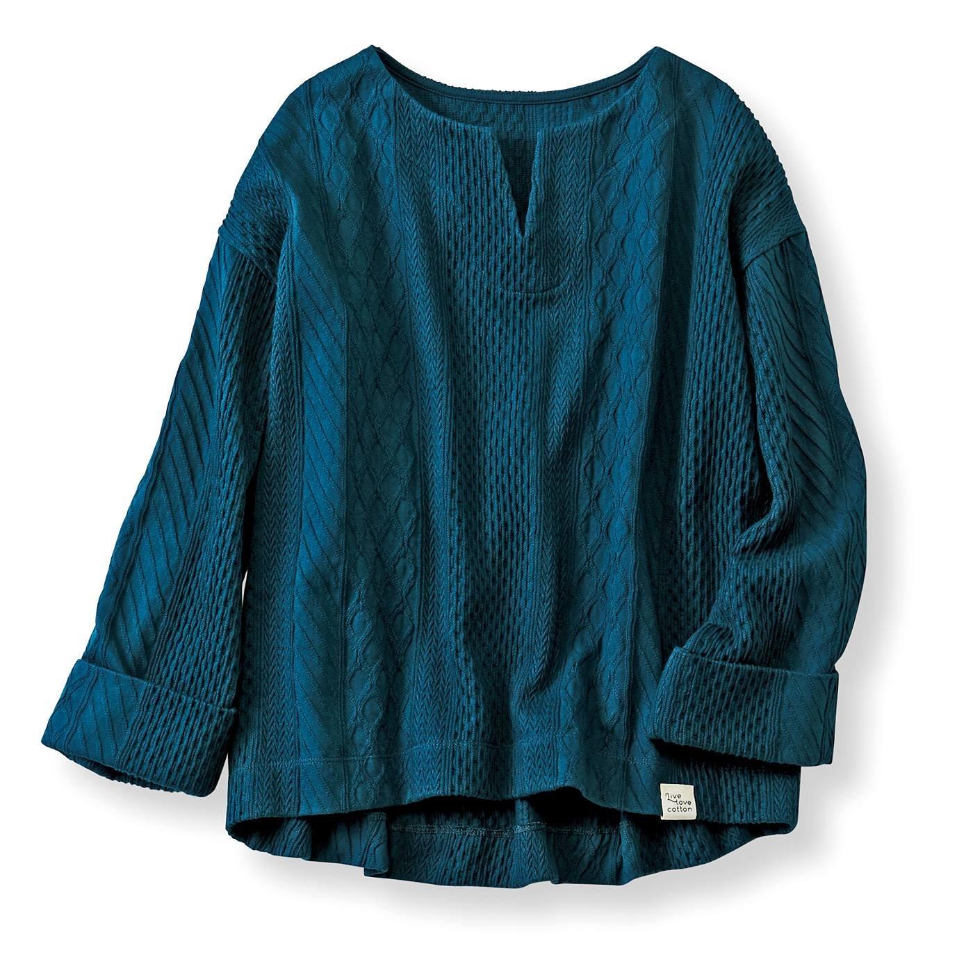 Live love cottonプロジェクト リブ イン コンフォート しっかり厚手の 柄編みが素敵なオーガニックコットントップス〈ピーコック〉