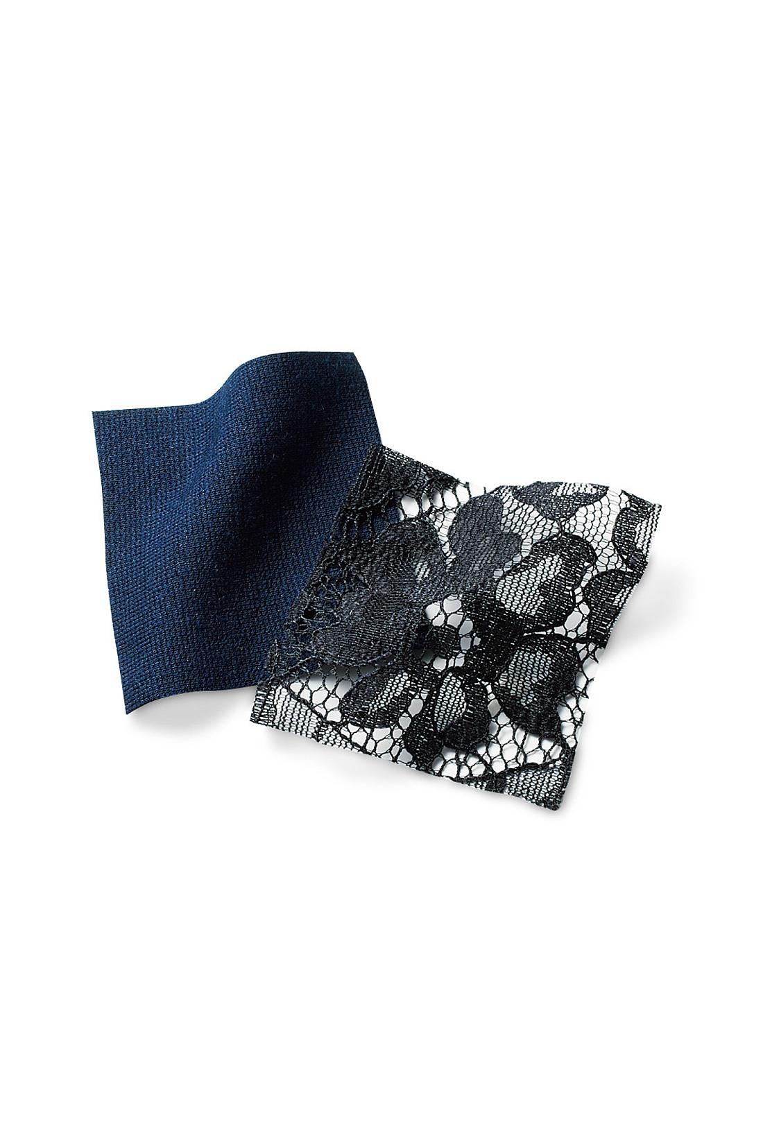 きれいで華やかなレースと、ほどよい厚みと張りが特徴のシルケットポンチカットソー素材。