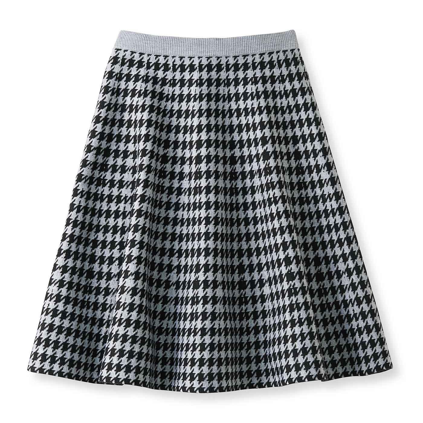 フェリシモ DRECO by IEDIT しわになりにくく着心地軽やか ツイードライクな知的柄ジャカードニットスカート〈千鳥柄〉