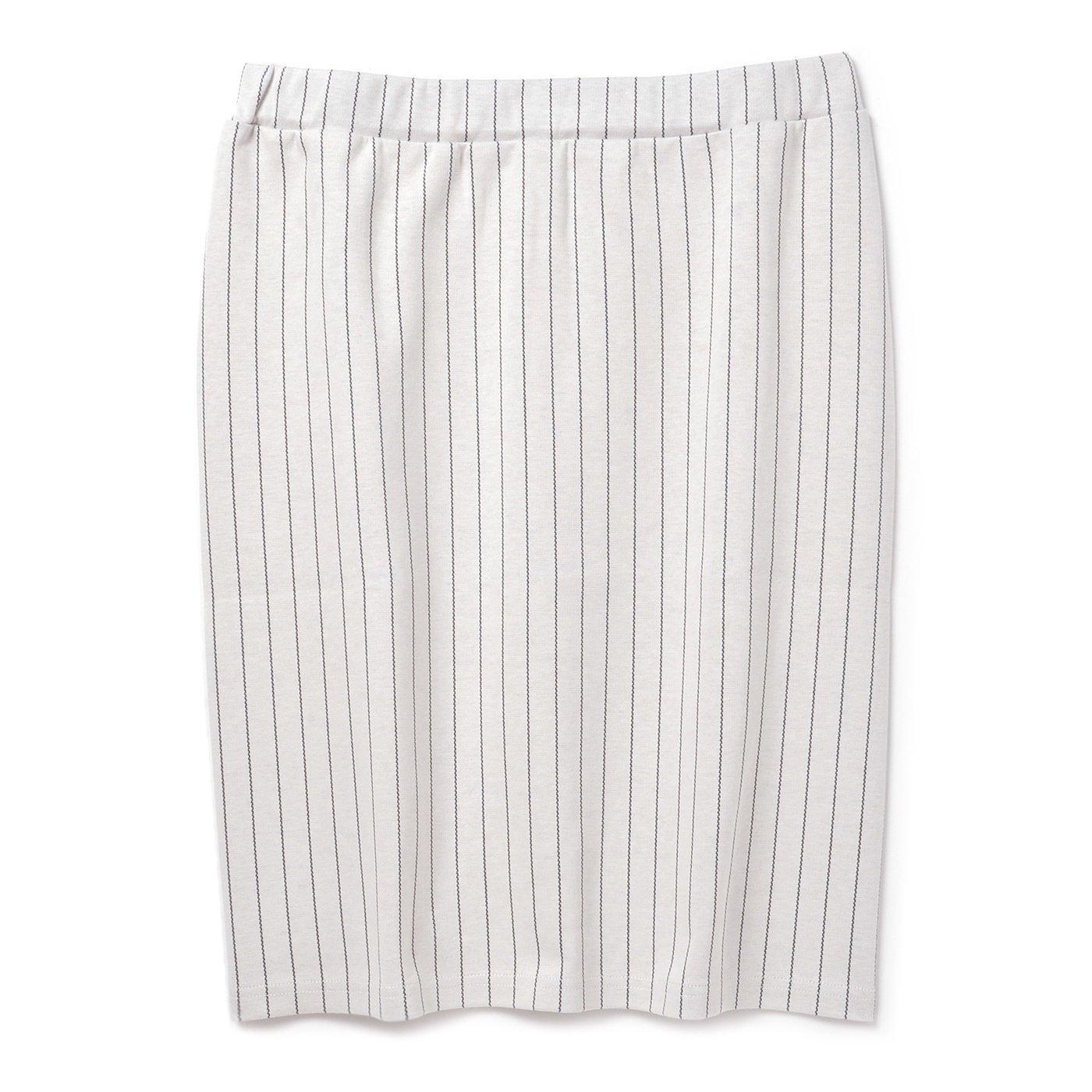 ストライプジャカードのタイトスカート(オフホワイト)