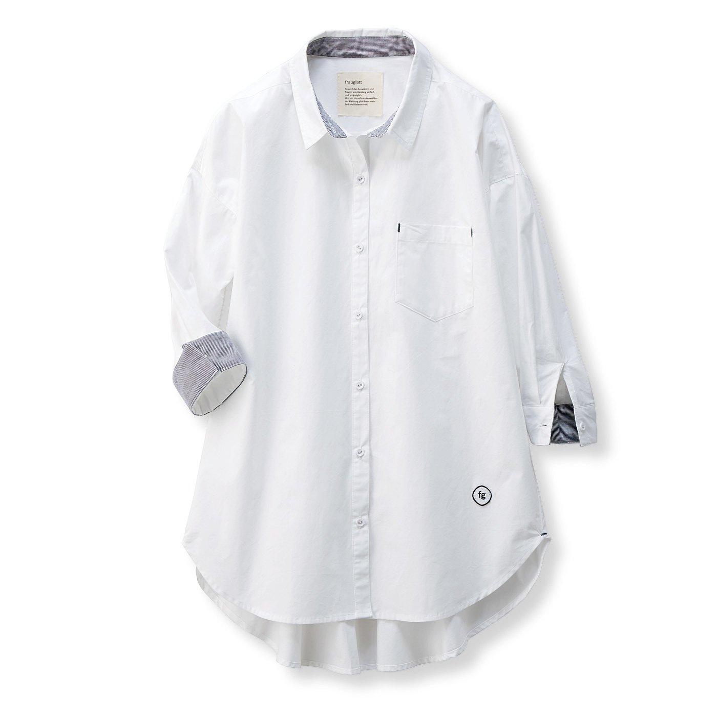フラウグラット イージーケアで便利なホワイトシャツチュニック〈オフホワイト×黒ストライプ〉