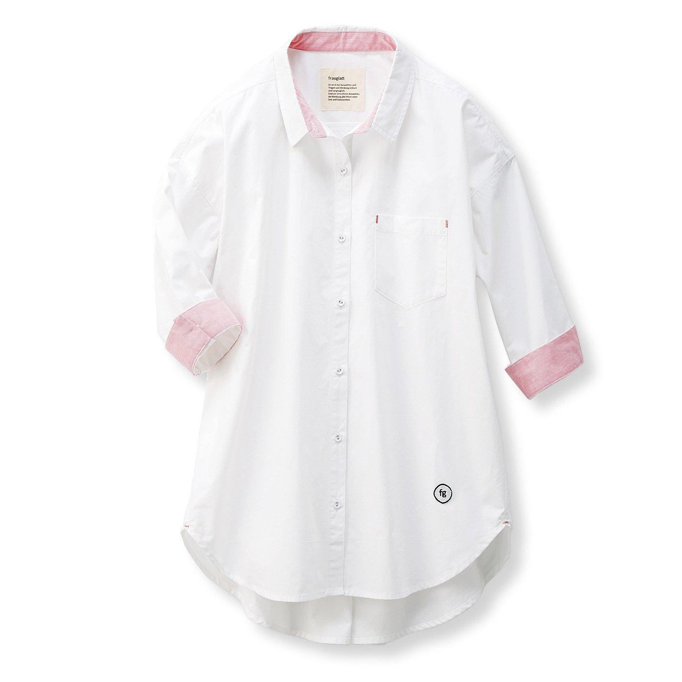 フラウグラット イージーケアで便利なホワイトシャツチュニック〈オフホワイト×赤ストライプ〉