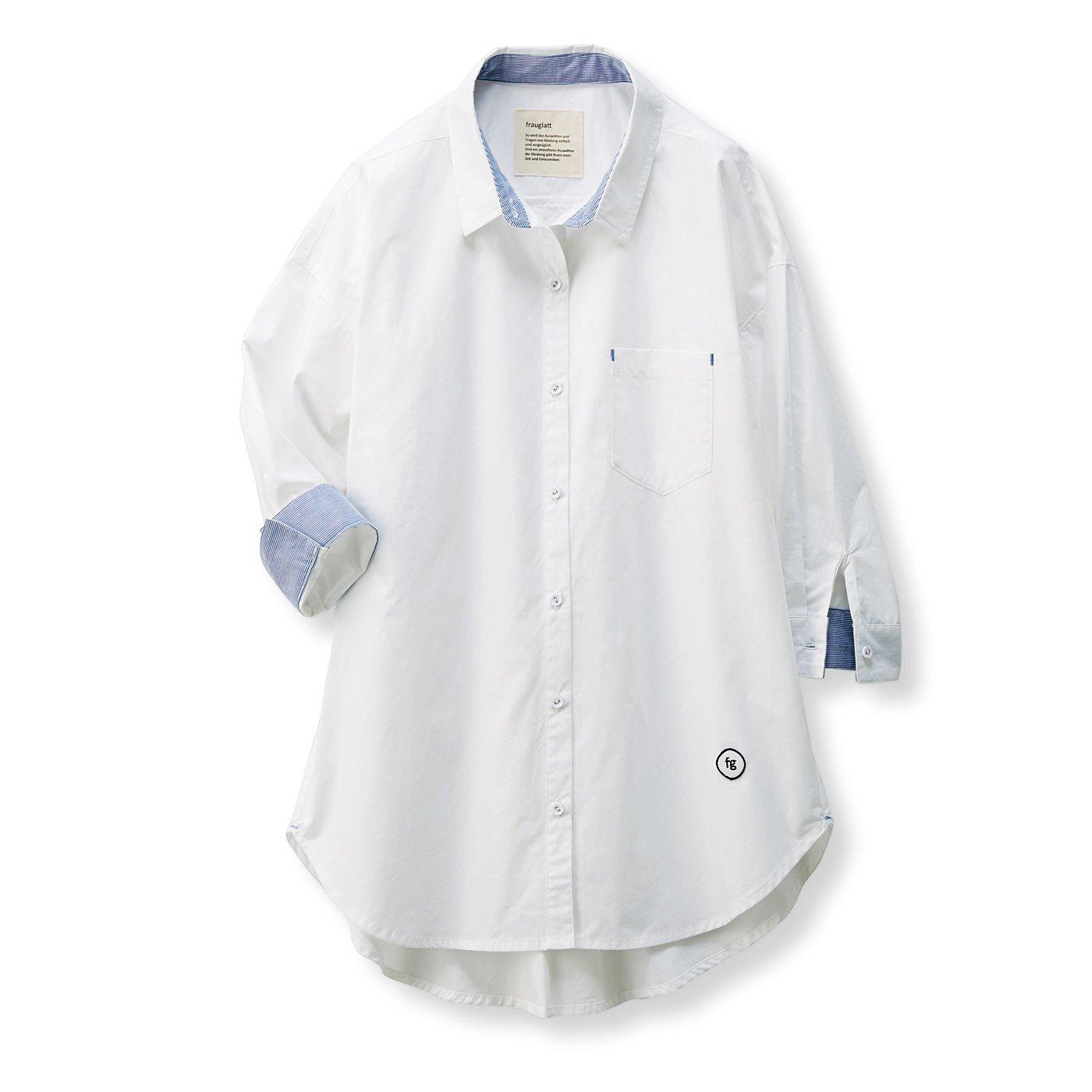 フラウグラット イージーケアで便利なホワイトシャツチュニック〈オフホワイト×青ストライプ〉