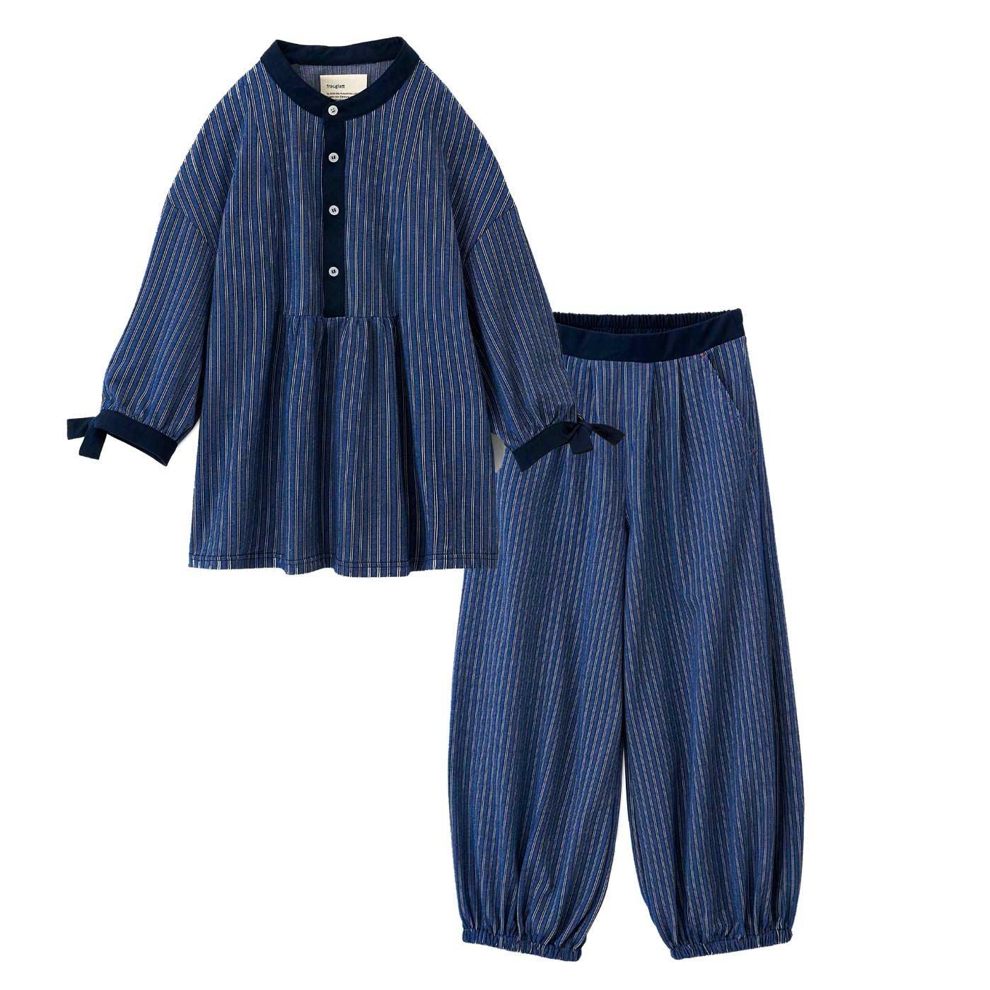 フラウグラット 布帛(ふはく)見えするのに実はらくちん ちょっと外にも部屋着にもそのまま寝られるウェアセット〈ネイビー×オフ白(ストライプ〉