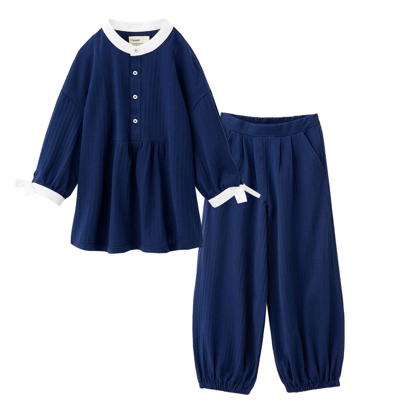 フラウグラット 布帛(ふはく)見えするのに実はらくちん ちょっと外にも部屋着にもそのまま寝られるウェアセット〈ネイビー×ネイビー(織り柄)〉