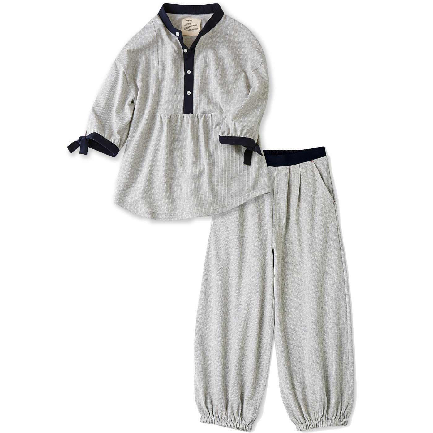 フラウグラット 布帛(ふはく)見えするのに実はらくちん ちょっと外にも部屋着にもそのまま寝られるウェアセット〈グレー×オフ白(ストライプ)〉