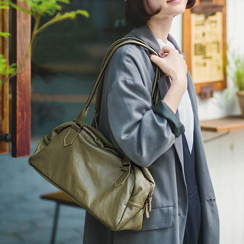女性をいつでも美しく見せる くったりレザーの上品ボストンバッグ(ヴィンテージオリーブ)[本革 バッグ:日本製]
