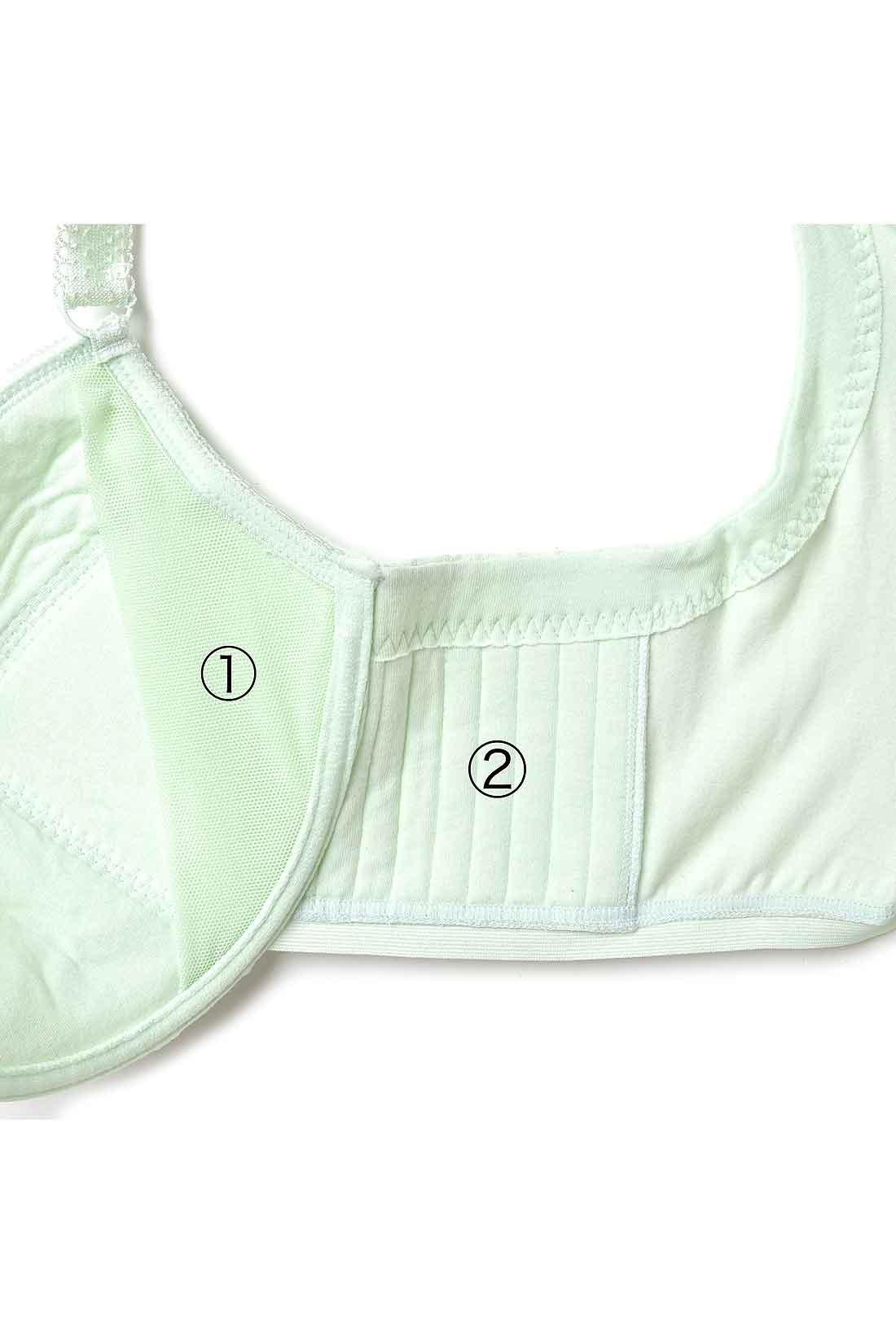 ①パワーネットの胸流れ防止パネルがバストの広がりを防ぎ、美胸をキープ。②さらにサイドパネルのステッチ入り厚手素材が胸流れをしっかりガード。