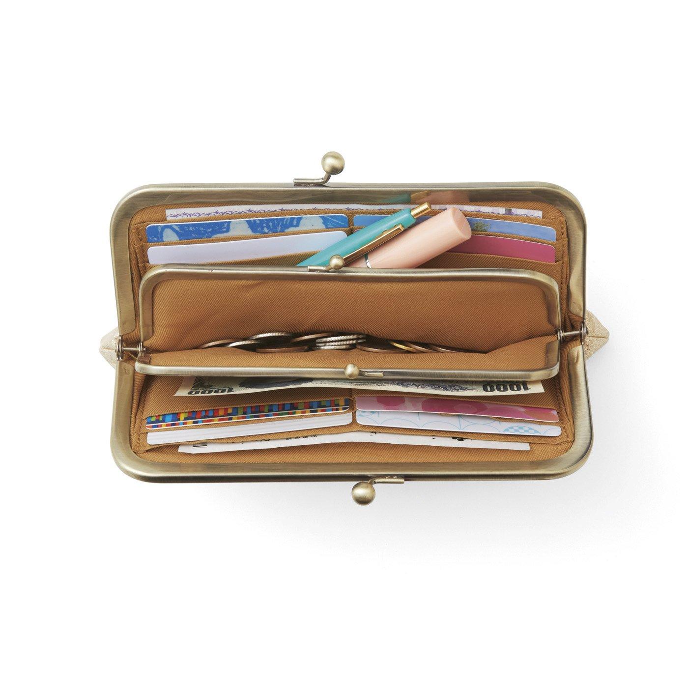 UP.de きらめく本革でハッピーを呼ぶ サッと見渡せるダブルがま口長財布