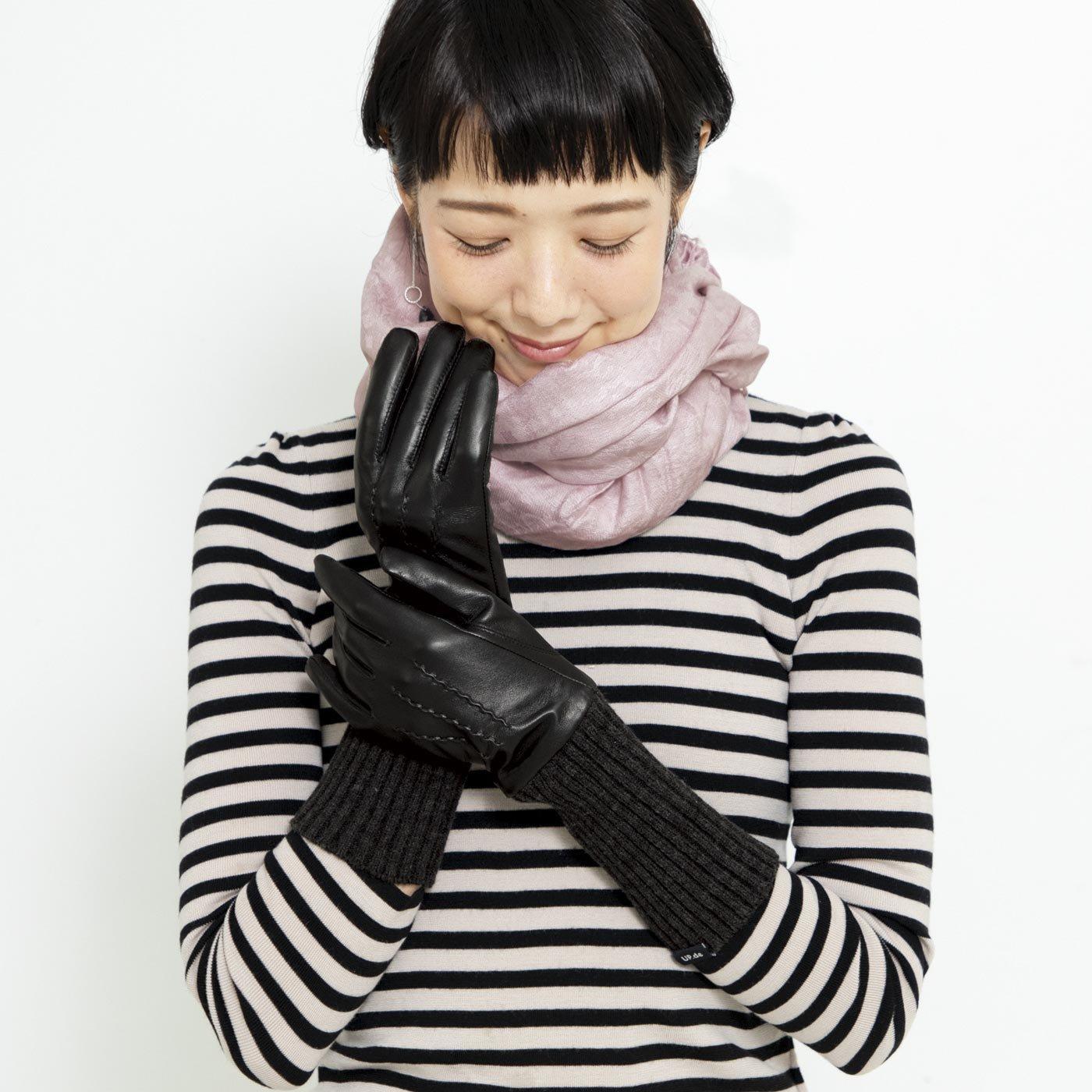 UP.de スマホ操作OK! 使うほどになじむ本革×ニットの暖か仕立てロング手袋〈ブラック〉