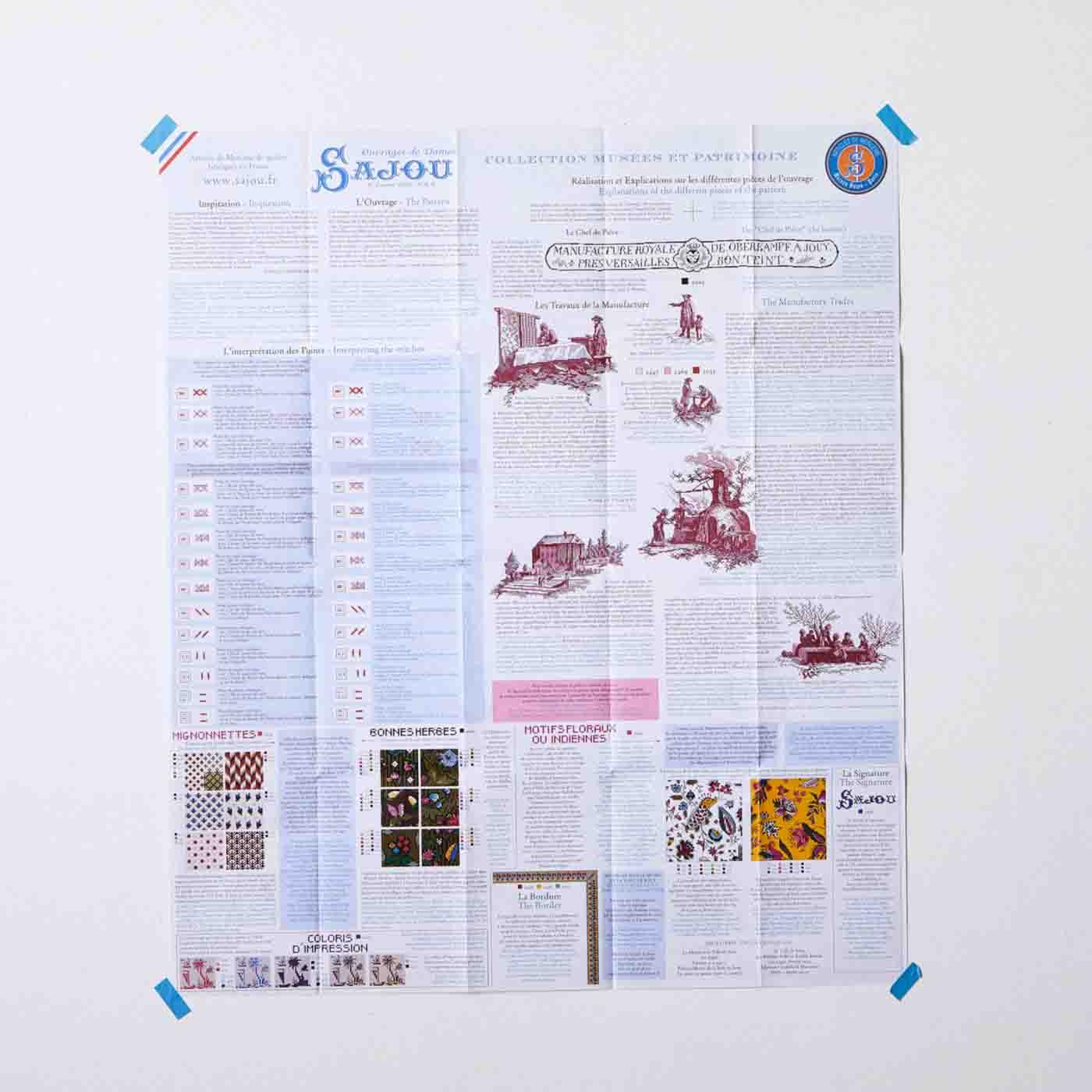 図案の説明はフランス語と英語でされています。