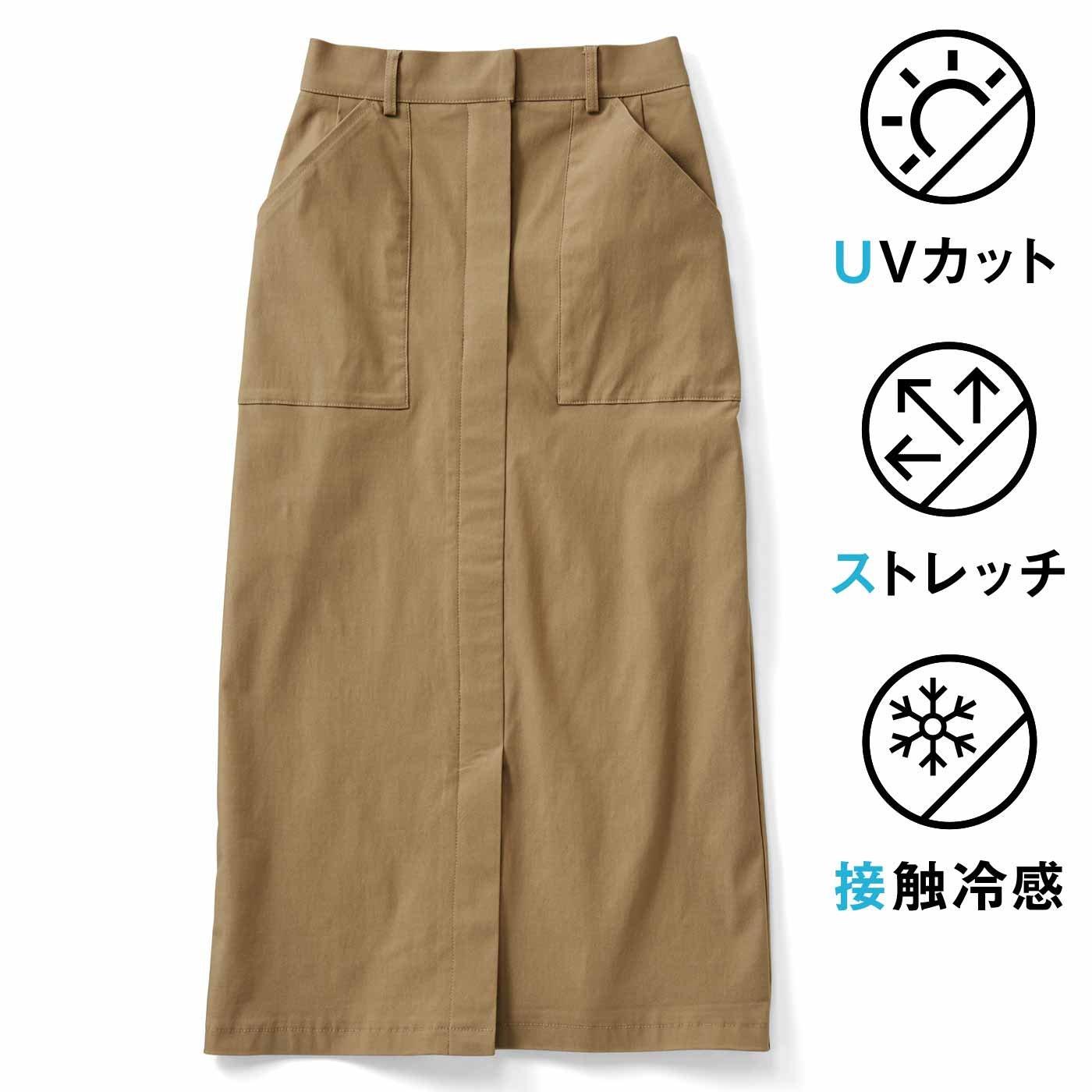 IEDIT[イディット] ストレッチ素材のIライン クレッシェンドカットスカート〈ベージュ〉