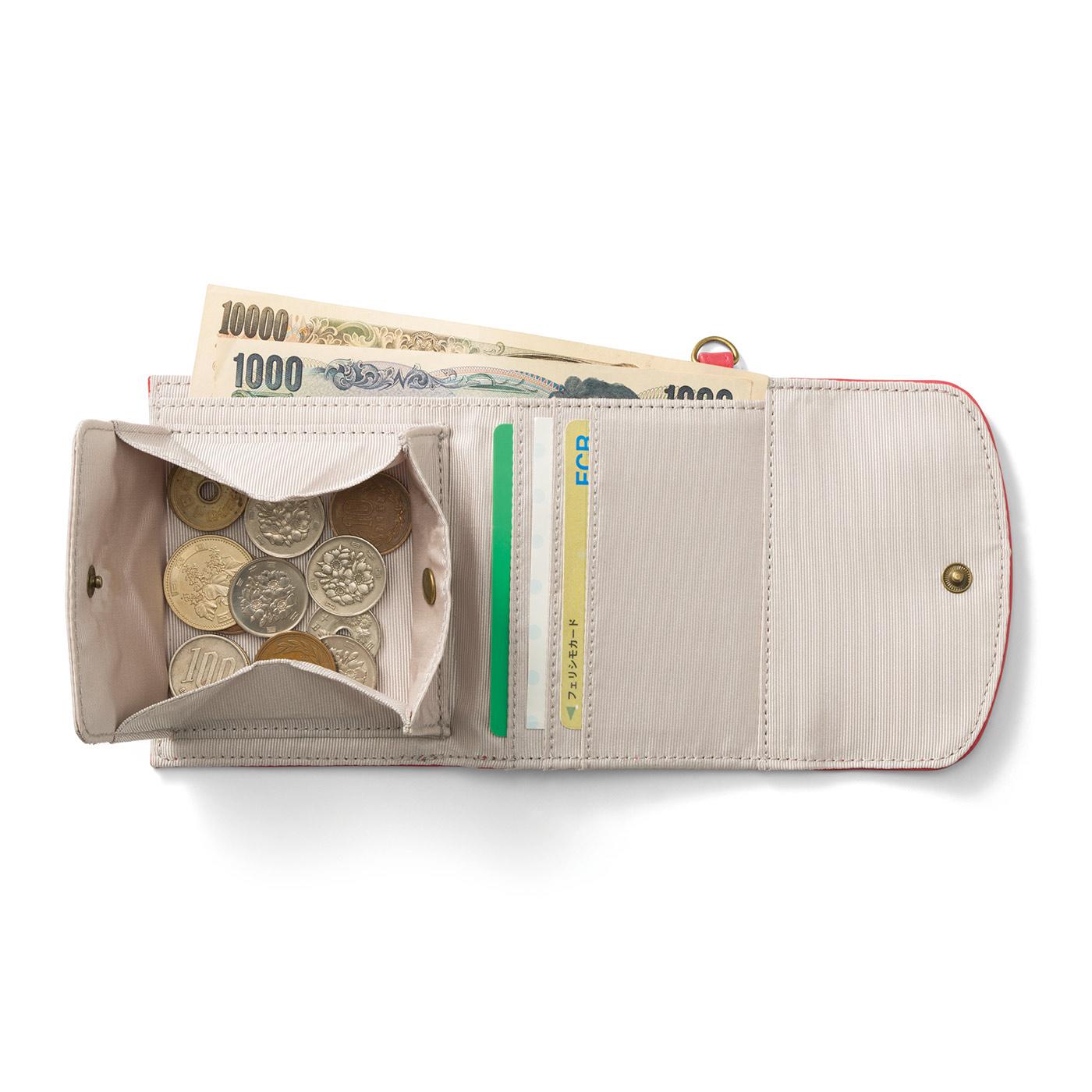 小銭が取り出しやすいボックスタイプ。カードが3枚入るポケット付き。