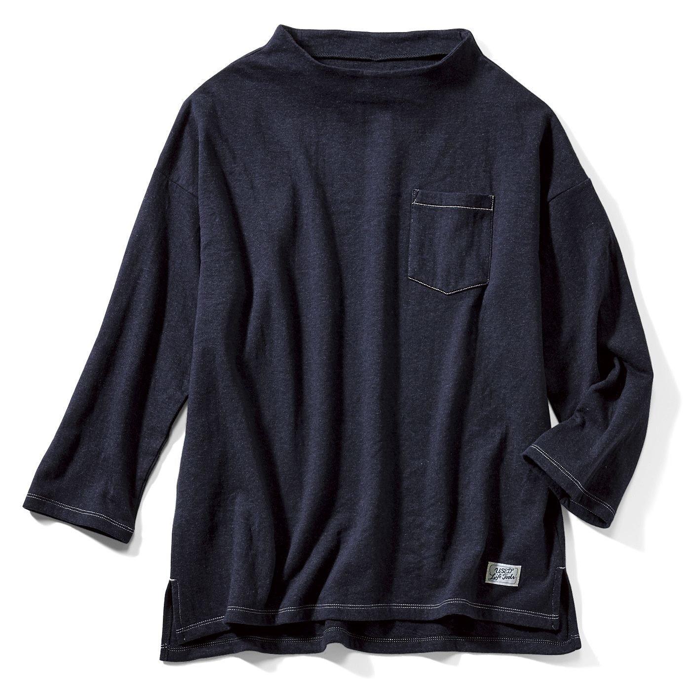 古着屋さんで見つけたような 接結やわらかTシャツ〈ネイビー〉