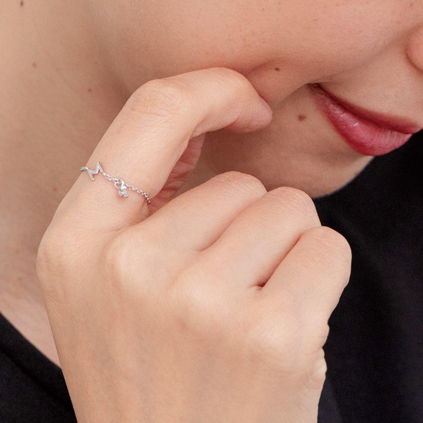 私のお守り★ ダイヤモンドが光る 大人のためのイニシャルシルバーチェーンリング