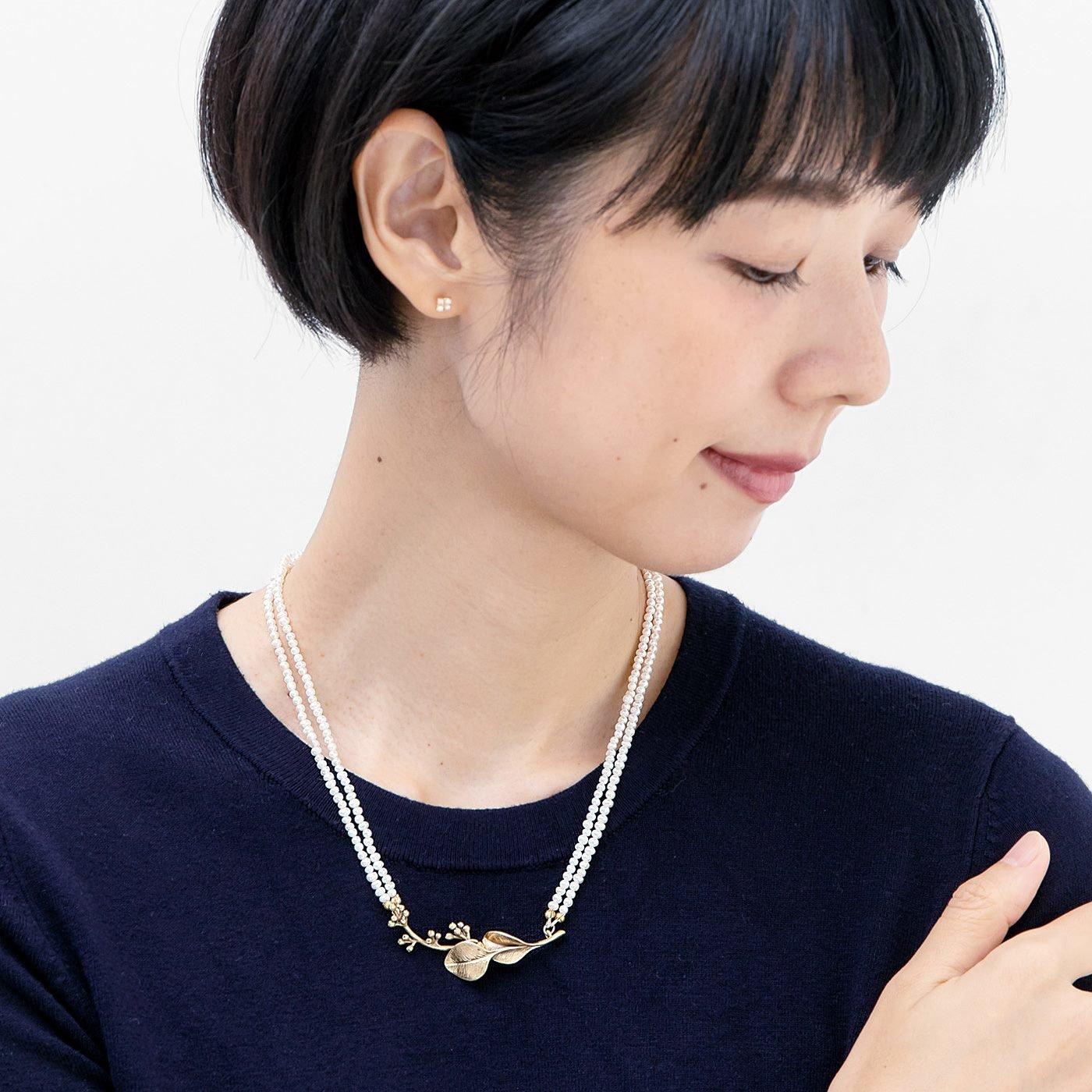 山本祐布子さんと作った ベビーパールを連ねたマグネットネックレス〈ホワイト〉