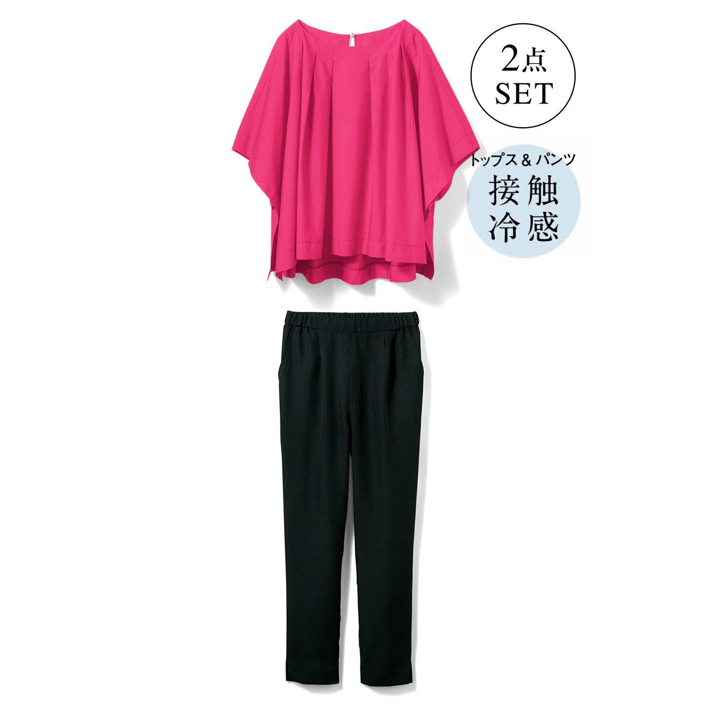 牧野紗弥さん×IEDIT[イディット] 女っぽさもカジュアルもかなえる パンツコーディネイトセット〈フューシャピンク×ブラック〉