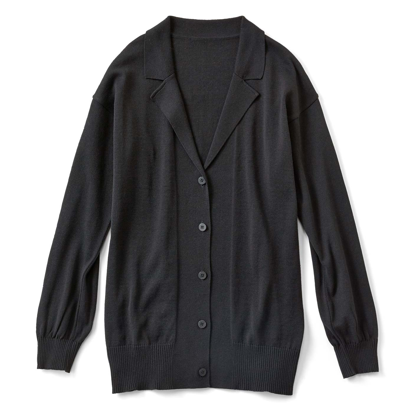 ジャケットみたいな衿付きニットカーディガン〈ブラック〉