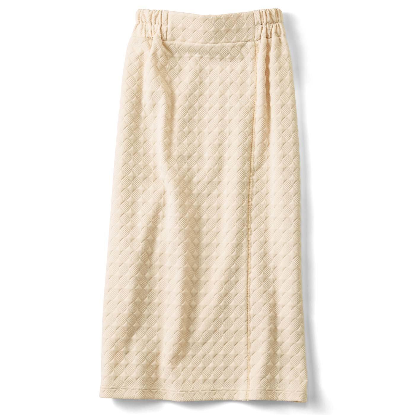 きれいIラインのカットソータイトスカート〈クリーム〉