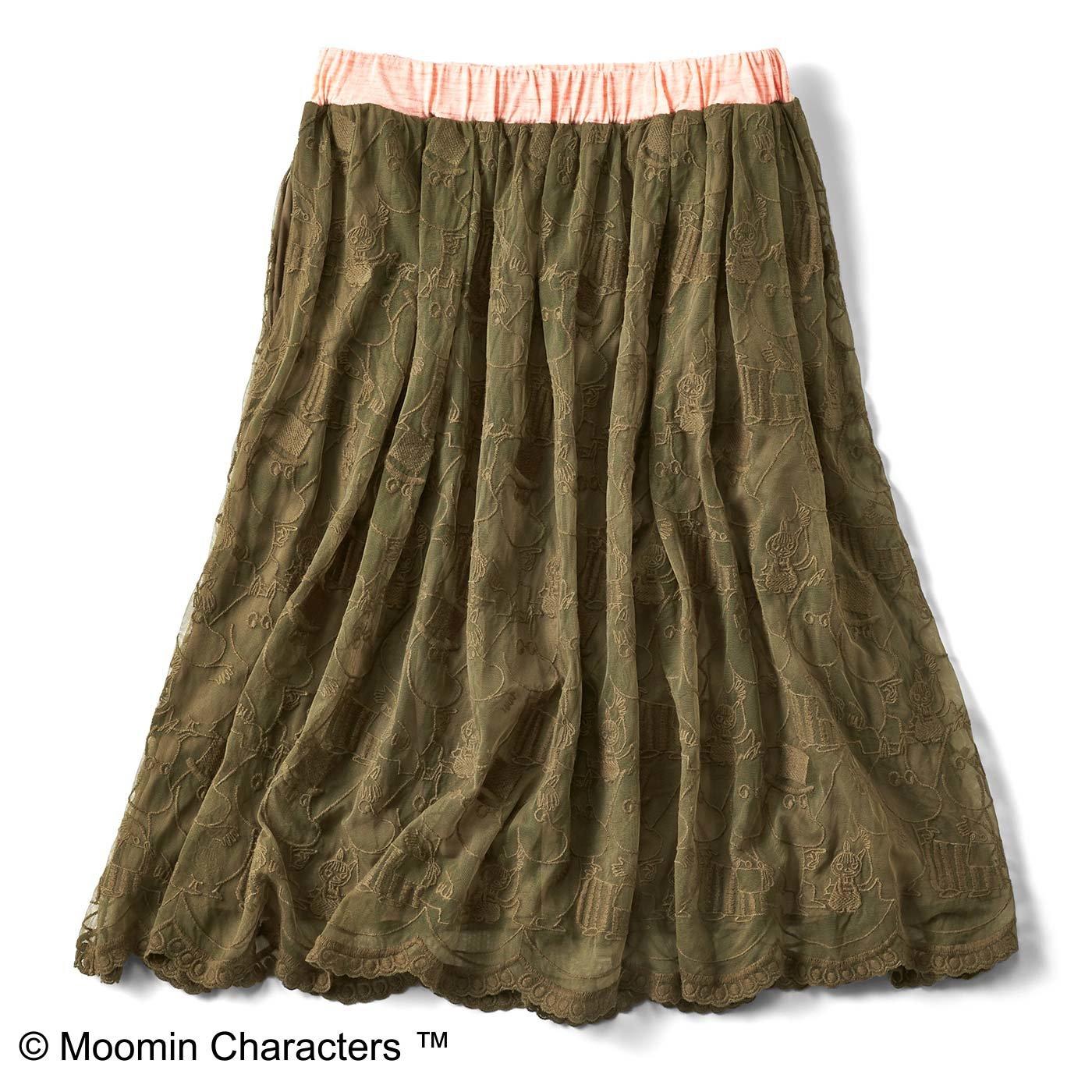 ムーミンと仲間たち ゴージャスレーススカート〈カーキ〉