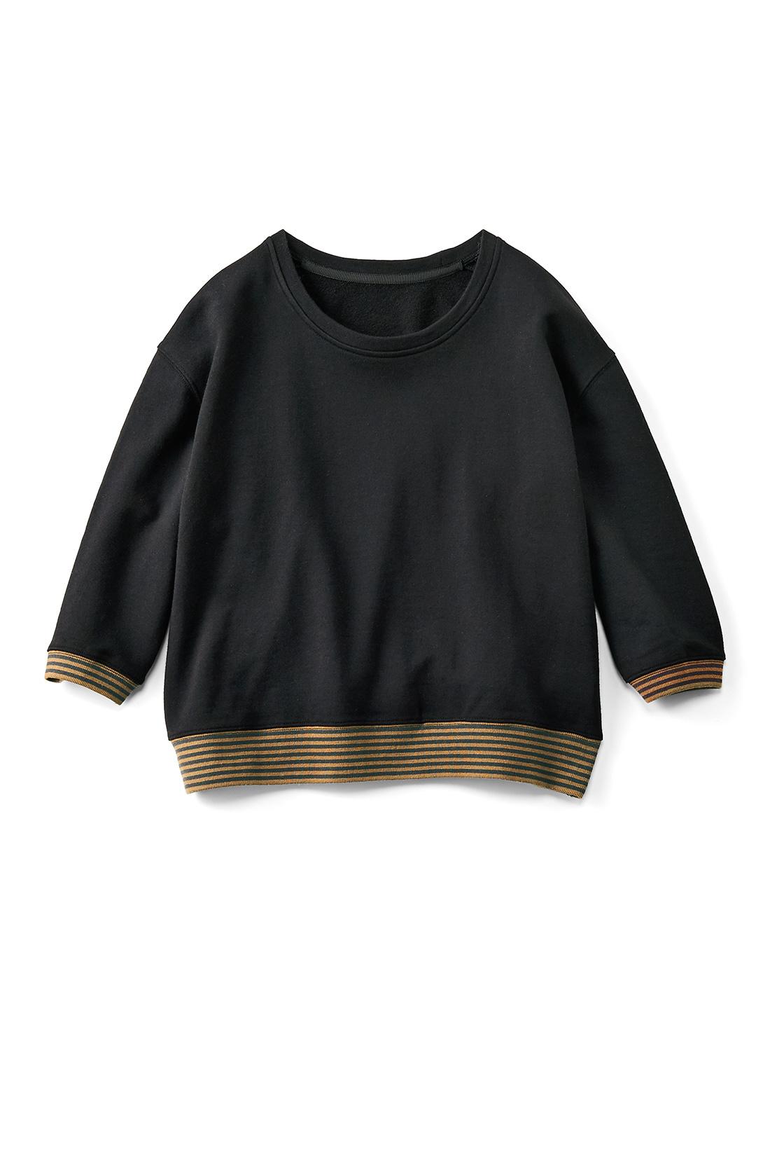 [ブラック]シルエット自慢のスウェットです。着るだけでおしゃれに見えるところが◎。