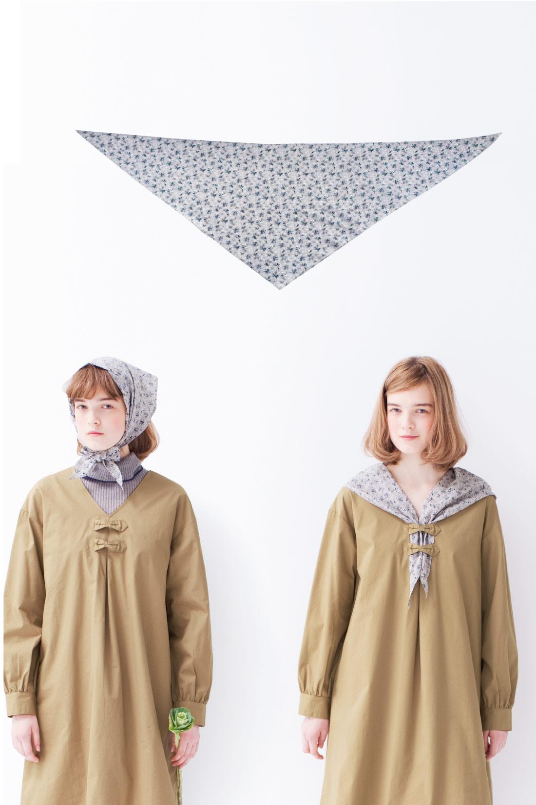 [スカーフはこんな形。]細長~い三角形をしています。