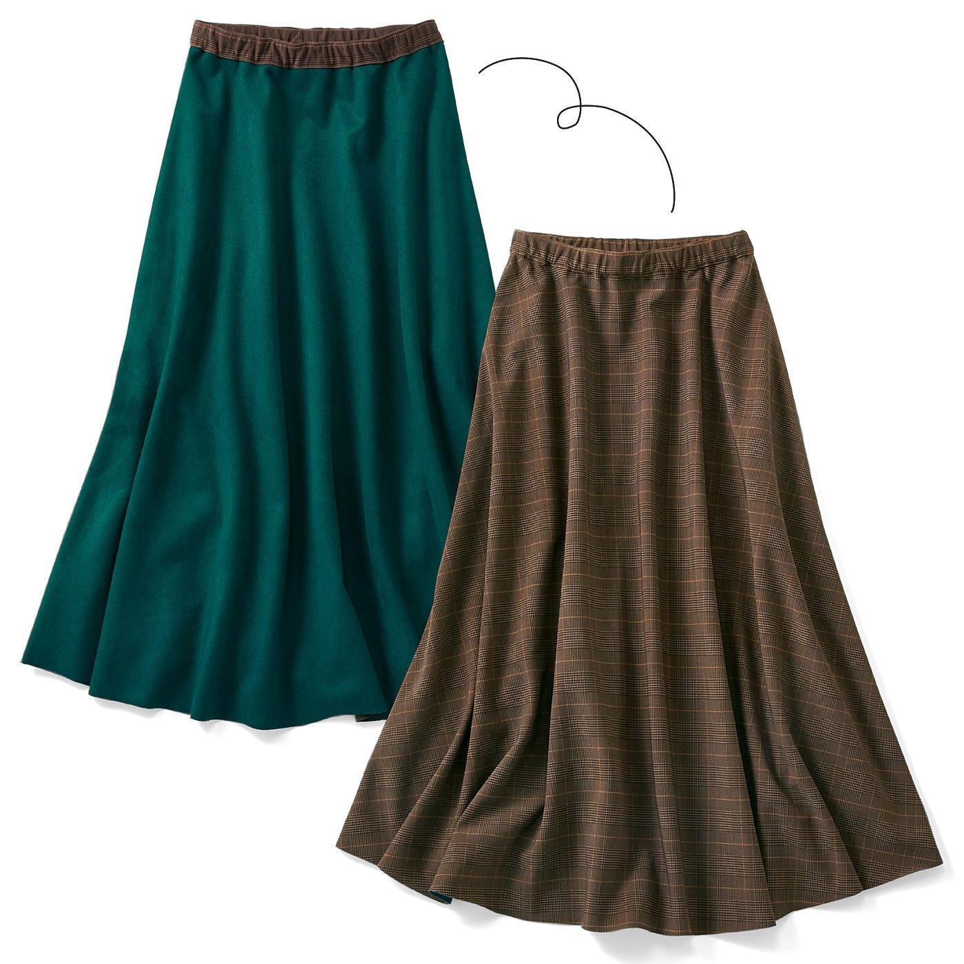 リブ イン コンフォート お出かけしたくなる ひらっと軽やか上品エコスエードスカート〈グリーン〉