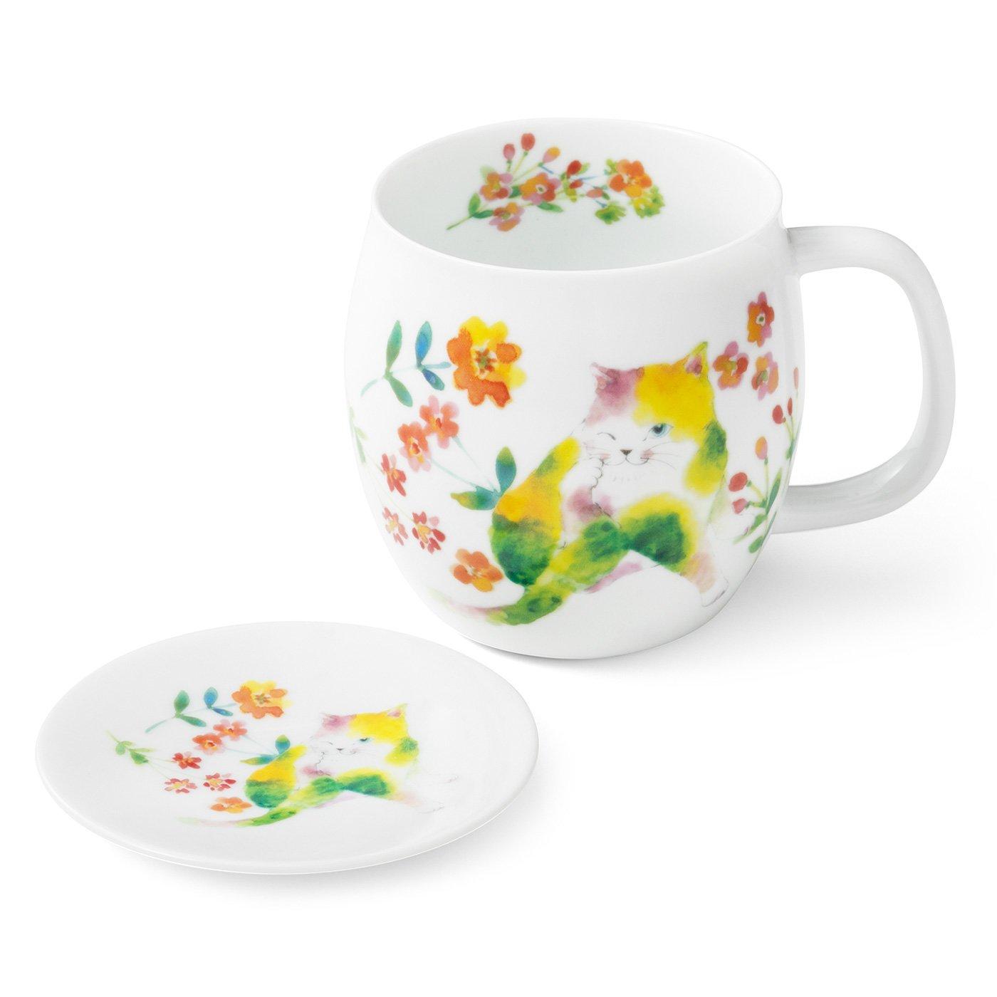 にゃん屋 彩りかわいい花猫 マグカップと小皿の会(3回予約)