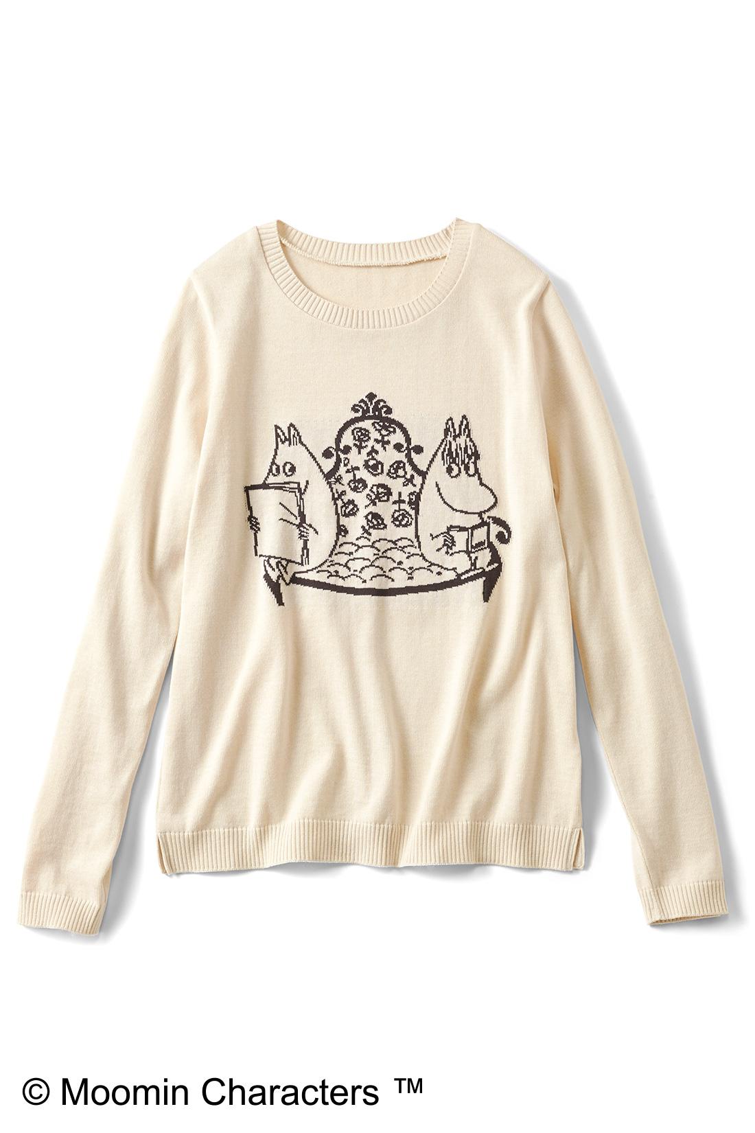 [ムーミンとスノークのおじょうさん・クリーム]プリントじゃなくて編み模様で表現しているので、なんとなくオトナっぽく見えない? すそのスリットもチャームポイント。