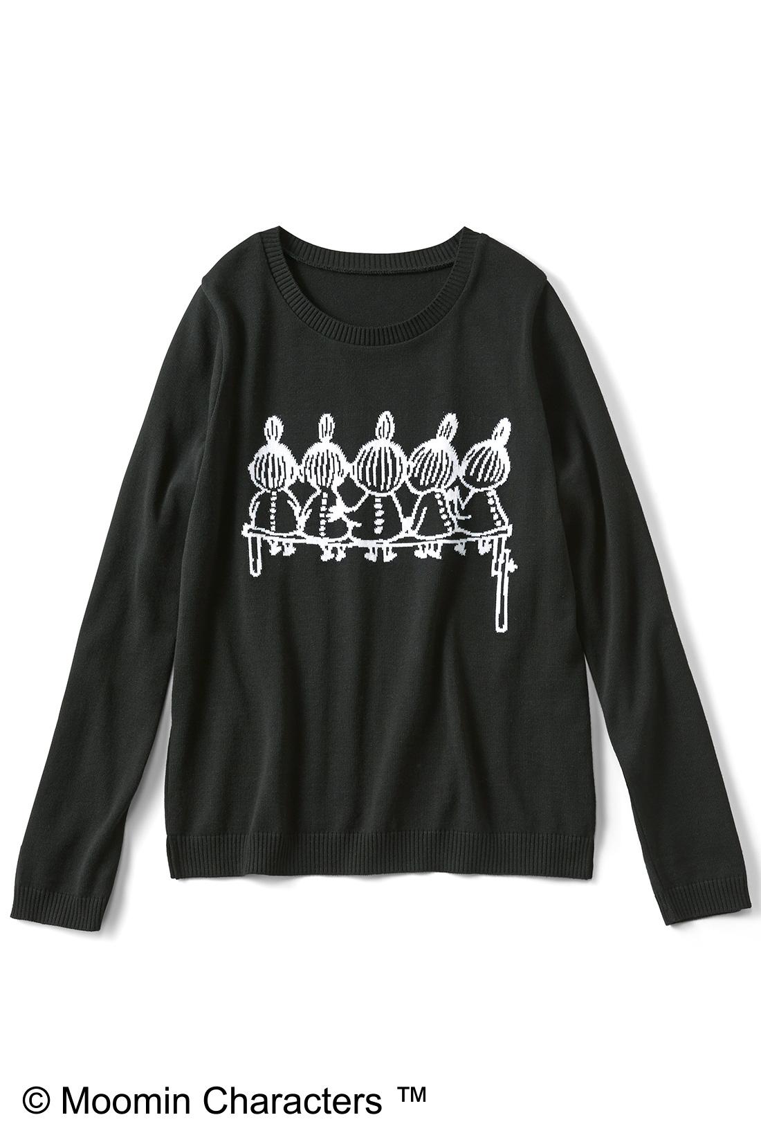 [リトルミイの姉妹・ブラック]プリントじゃなくて編み模様で表現しているので、なんとなくオトナっぽく見えない? すそのスリットもチャームポイント。