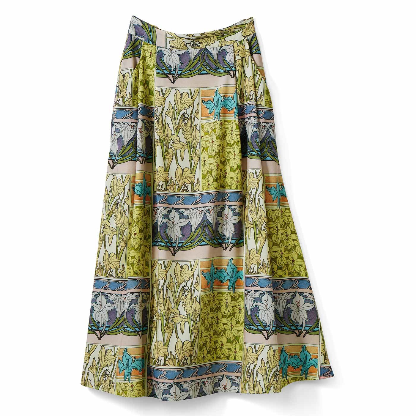 IEDIT[イディット] 優美なミュシャの図案をまとう クラッシックなプリントスカート〈ベージュ〉