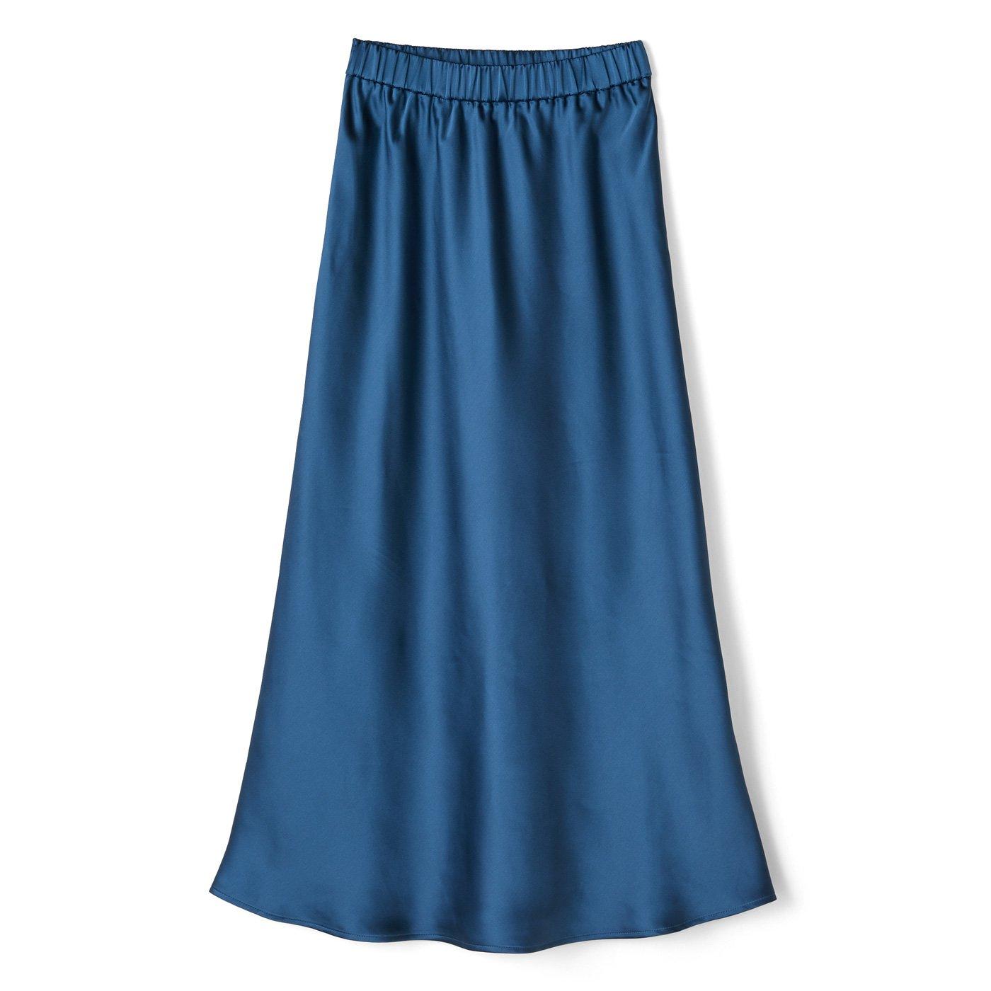 IEDIT[イディット] サテンの光沢が美しいセミサーキュラースカート〈ディープブルー〉