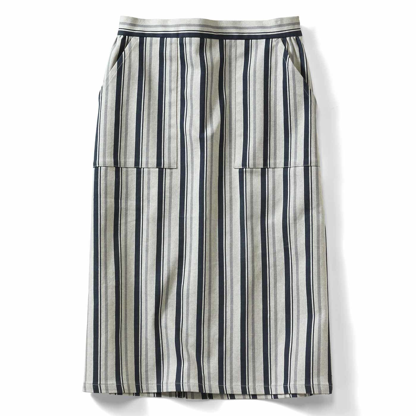 IEDIT[イディット] ストレッチサテン素材で伸びやか ストライプ柄Iラインスカート〈ネイビー〉