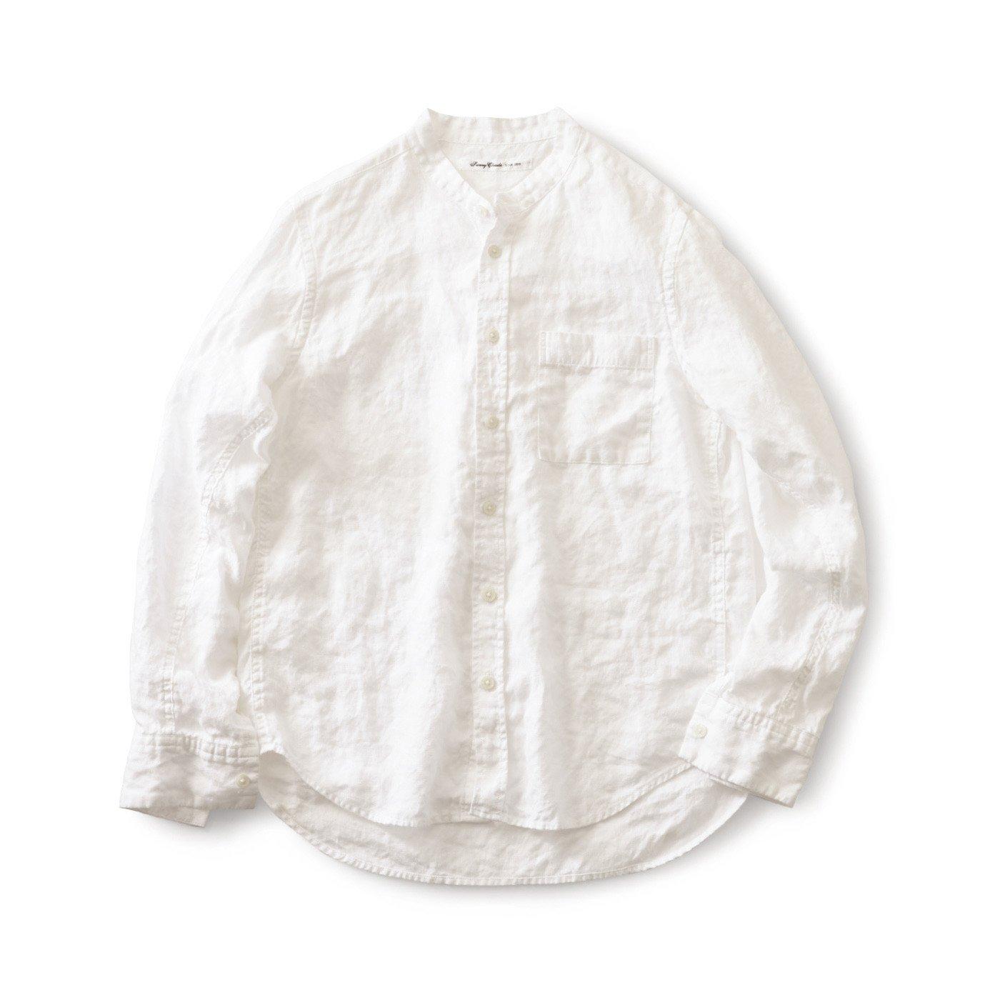 サニークラウズ 麻の白シャツ〈メンズ〉