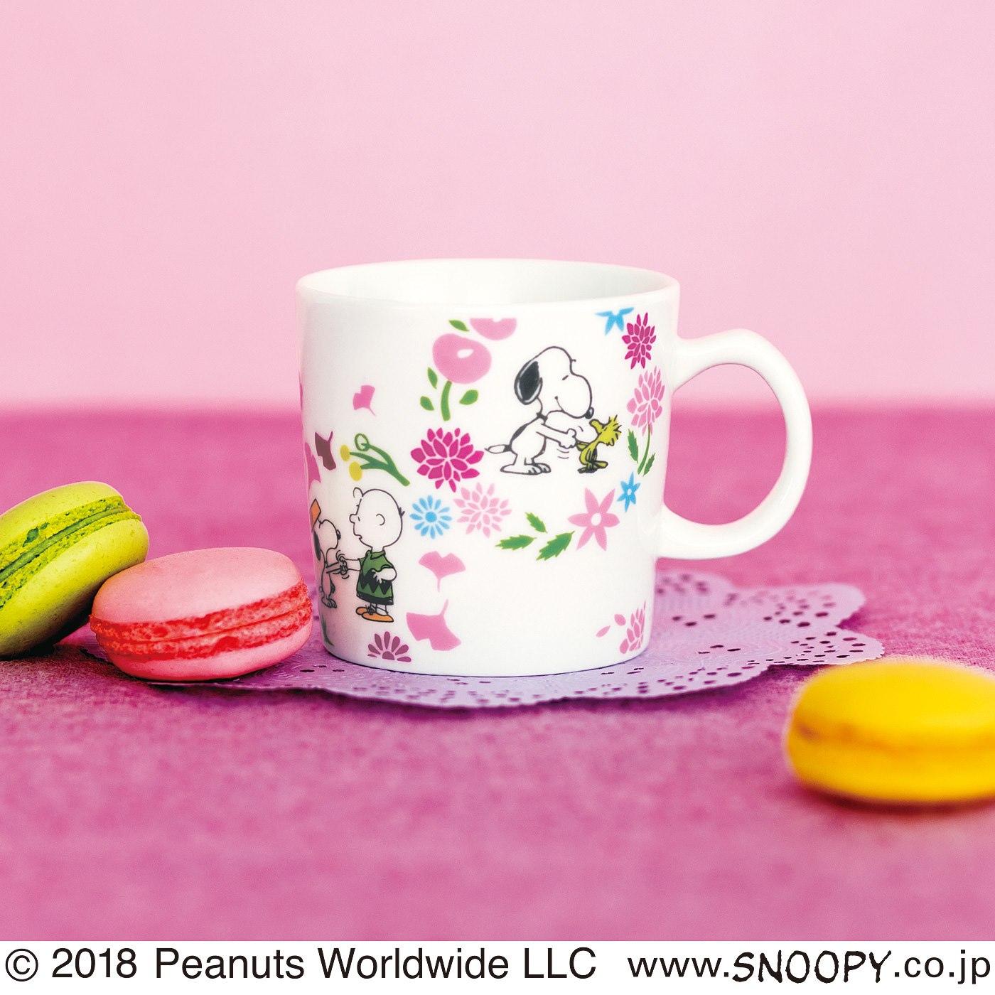 フェリシモ PEANUTS日本上陸50周年のハッピーフラワーマグカップ