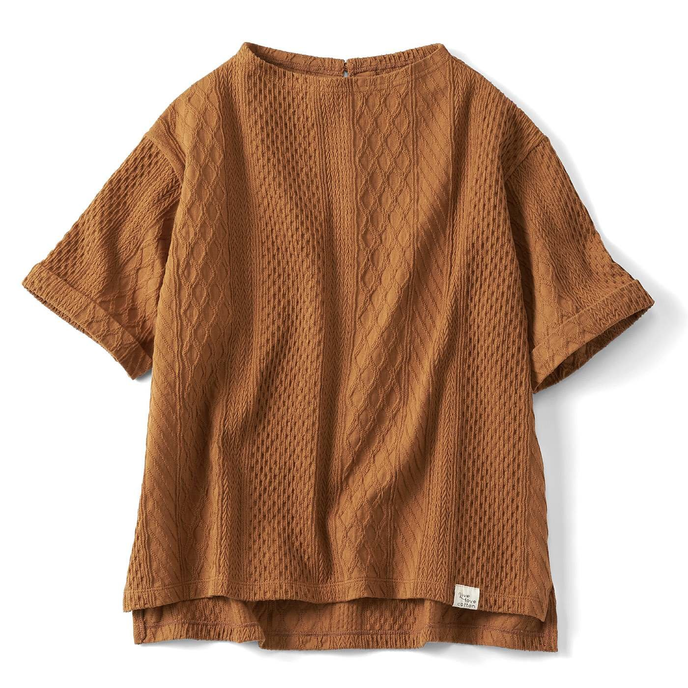 Live love cottonプロジェクト リブ イン コンフォート 編み柄が素敵な 厚手オーガニックコットン 半袖トップスの会
