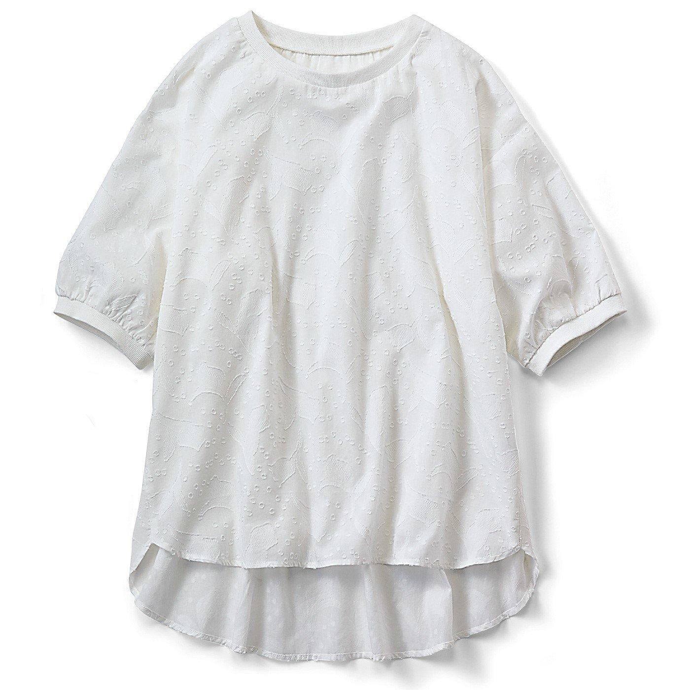 リブ イン コンフォート 気軽に着られて品よく涼しい コットンカットドビープルオーバー〈ホワイト〉