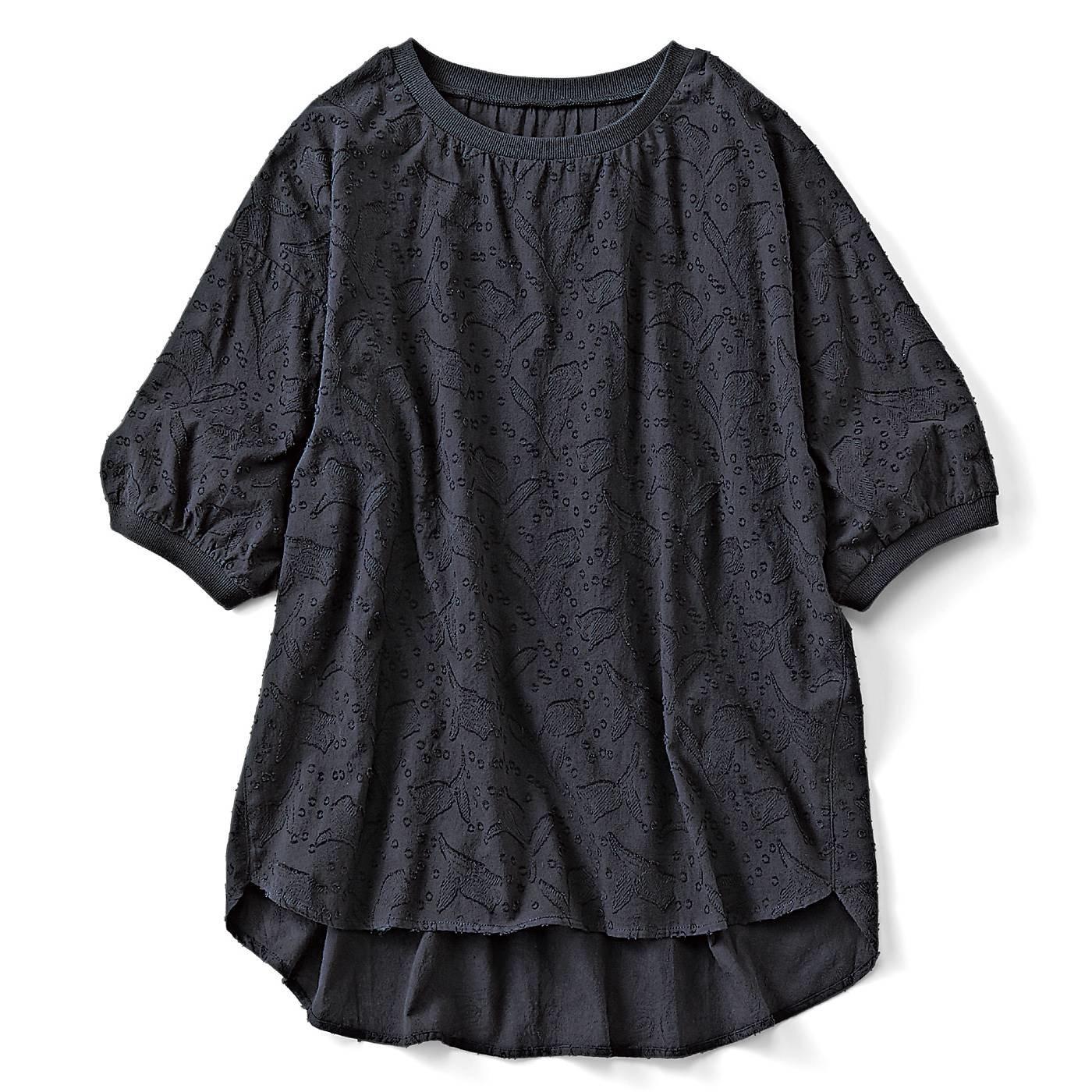 リブ イン コンフォート 気軽に着られて品よく涼しい コットンカットドビープルオーバー〈ブラック〉