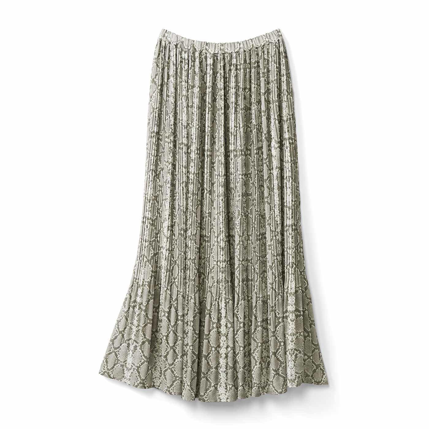 IEDIT[イディット] アニマルプリントの消しプリーツスカート〈グレージュパイソン〉