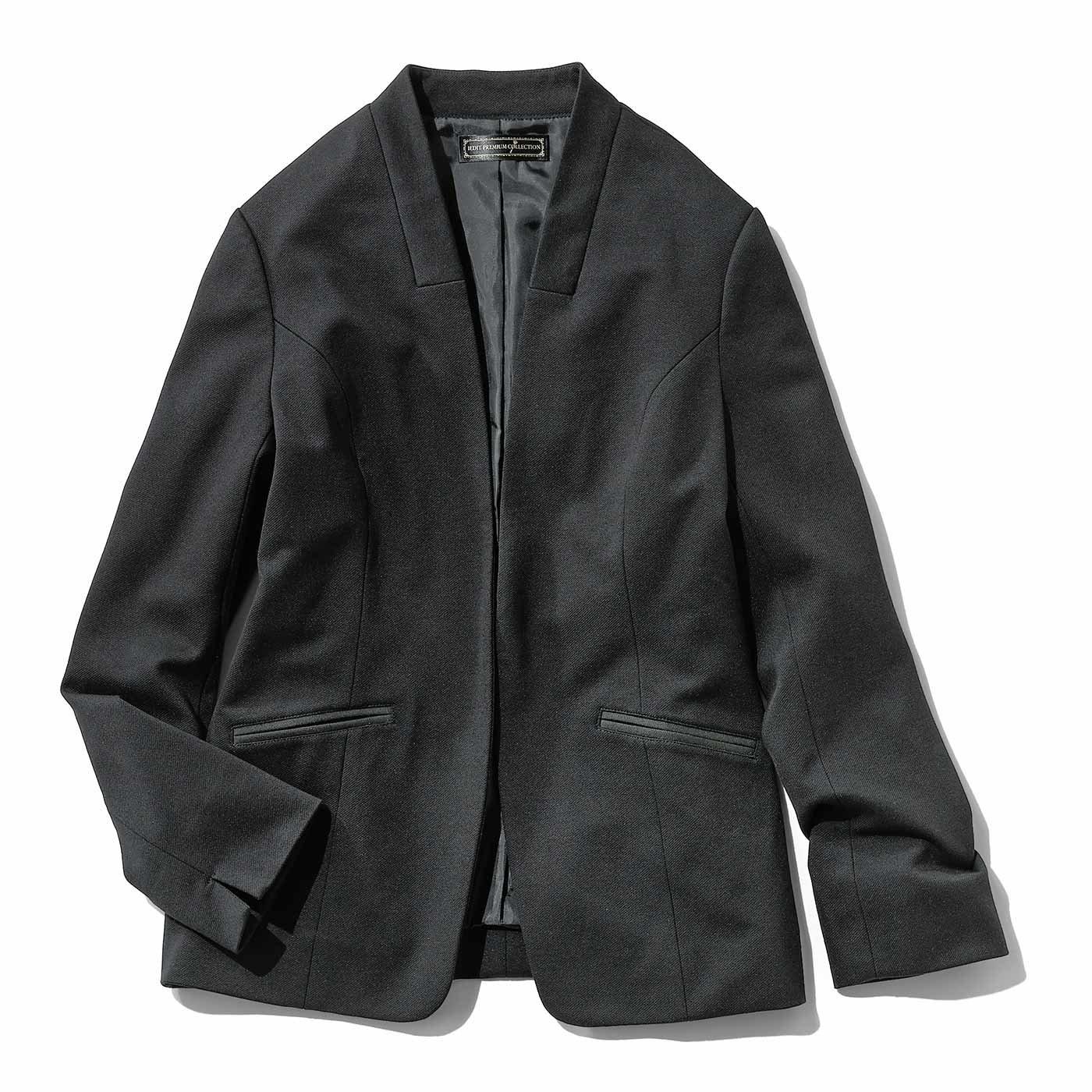 IEDIT きれい見え カットソー素材のブラックジャケット