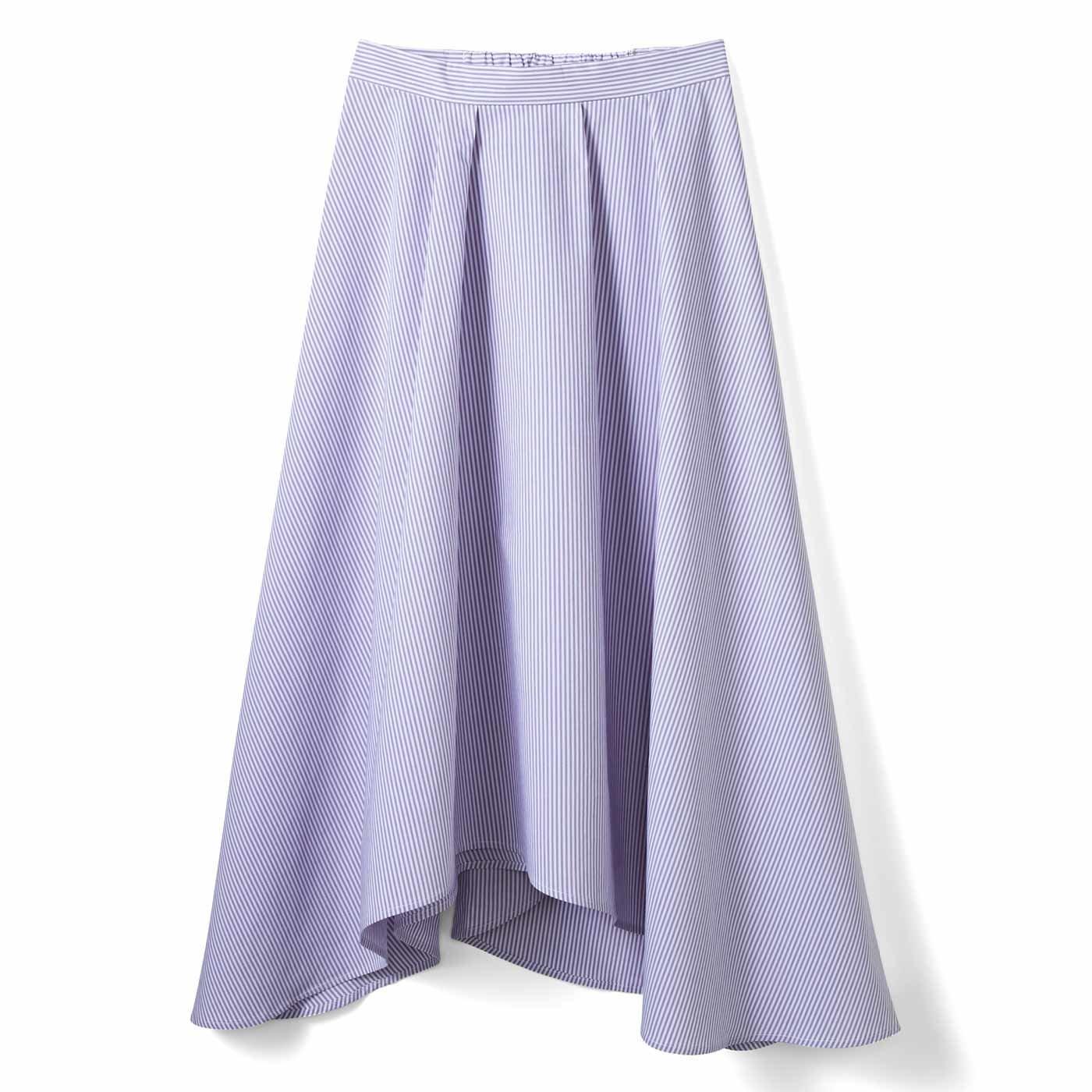 IEDIT[イディット] ストライプイレギュラーヘムスカート〈パープル〉