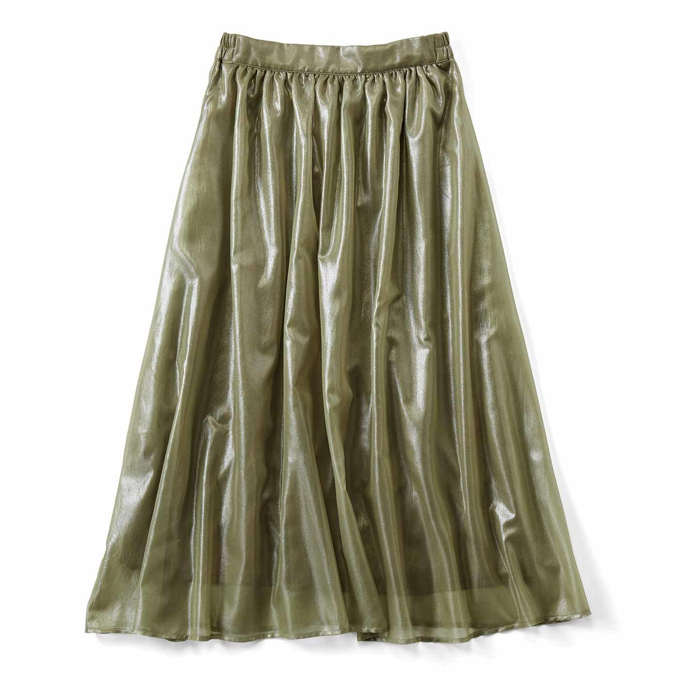 ふわふわ軽やか 箔プリントのギャザースカート〈カーキ〉