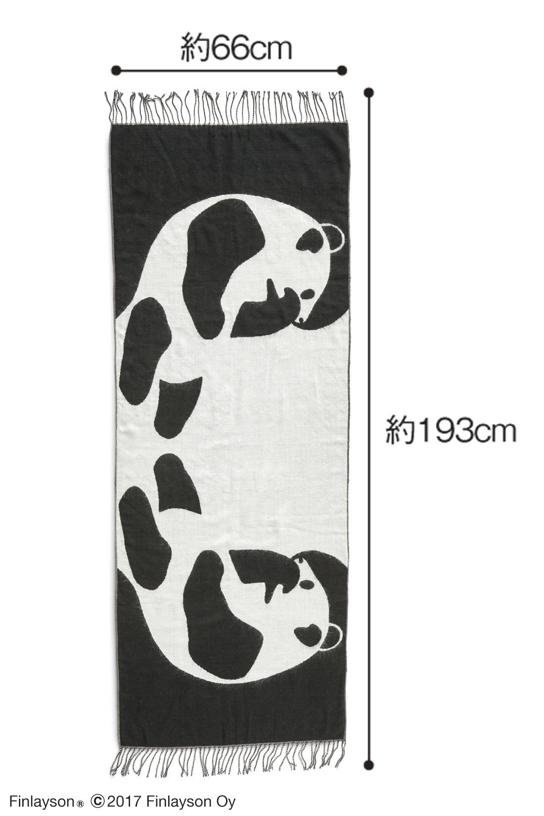 2匹のパンダが向かい合っている、遊び心いっぱいのデザイン。