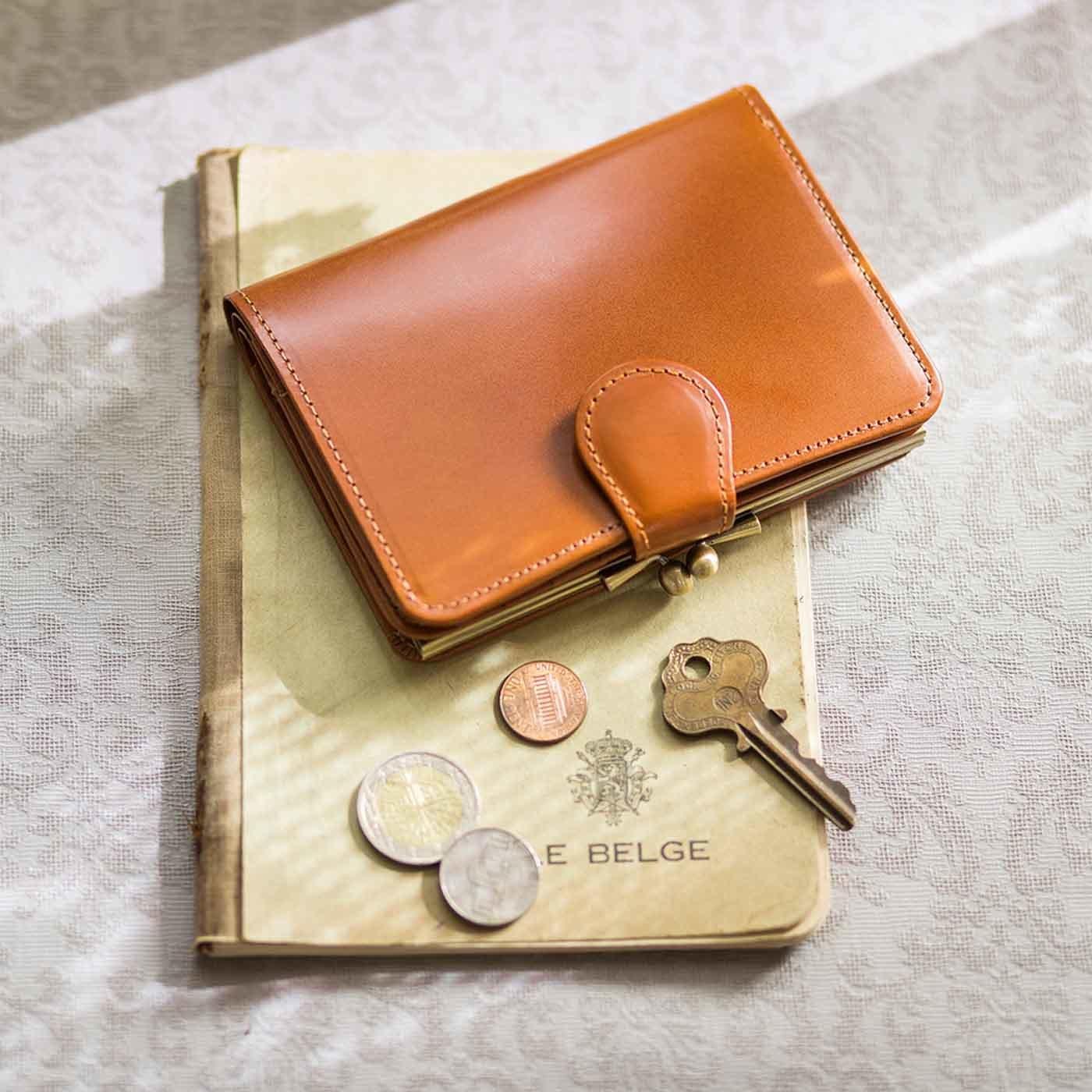 職人が誂(あつら)えた上質本革がま口付き折り財布〈アールグレイブラウン〉[本革 財布:日本製]