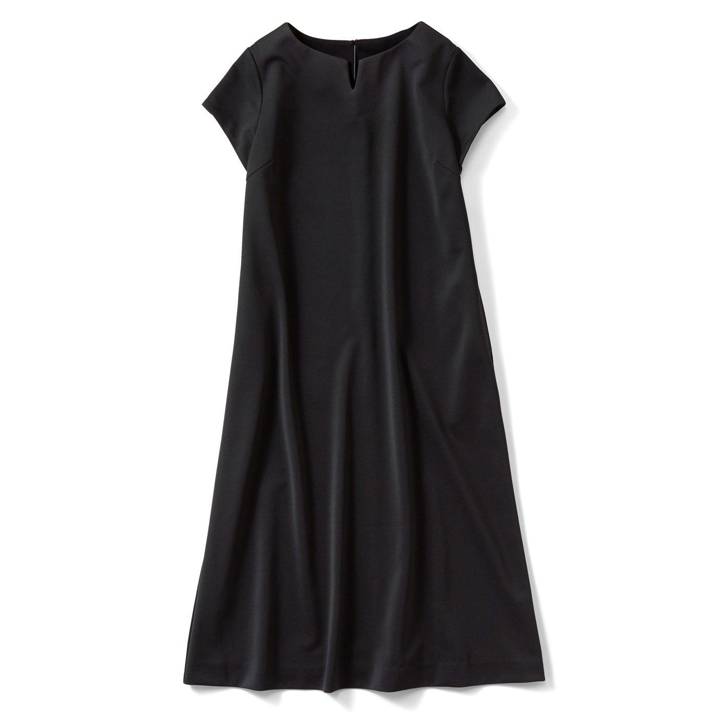 IEDIT[イディット] UVカット&接触冷感で着心地が涼やか 美シルエットの半袖ブラックワンピ