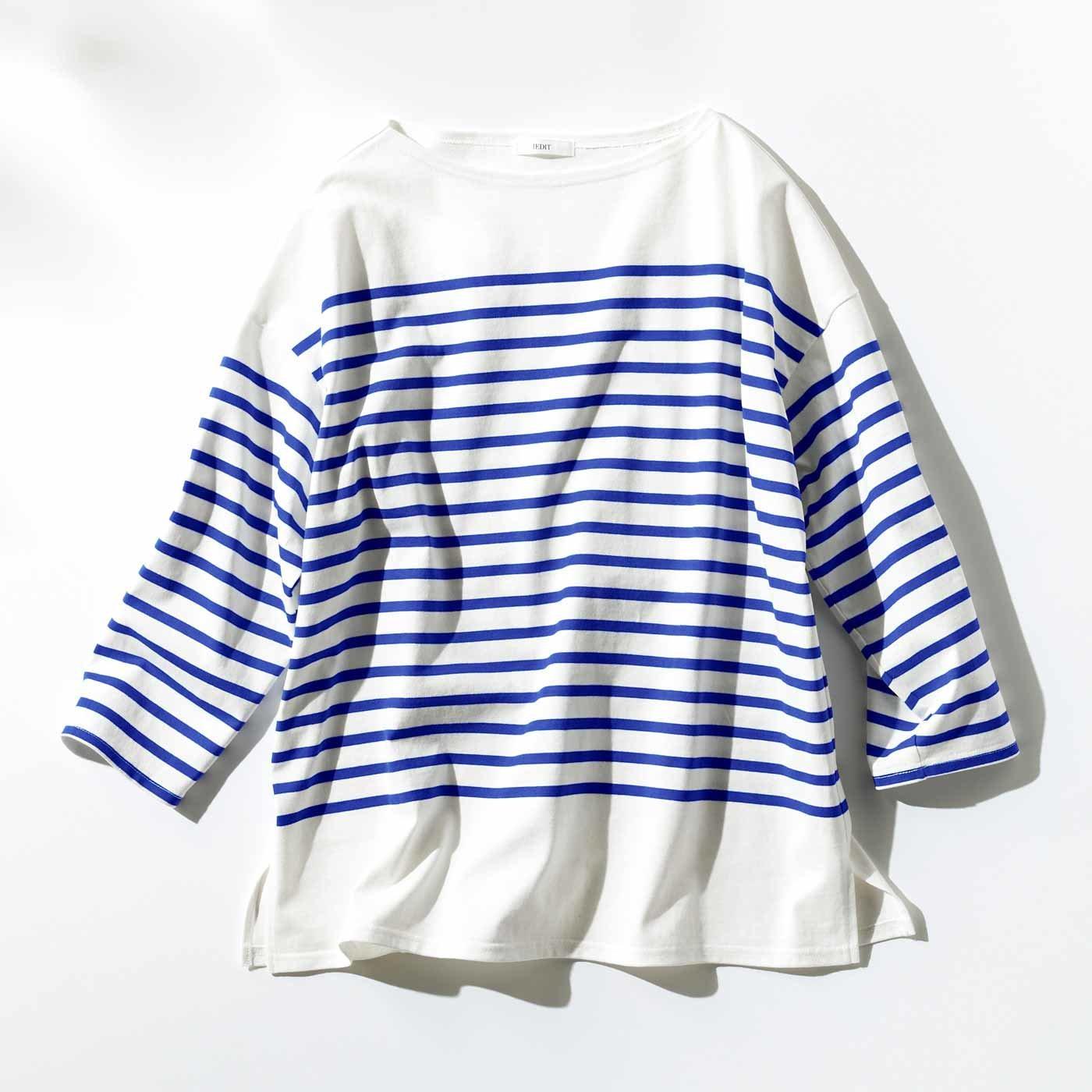 IEDIT[イディット] 小森美穂子さんコラボ こだわりのバスク風ボーダーTシャツ〈ブルー〉