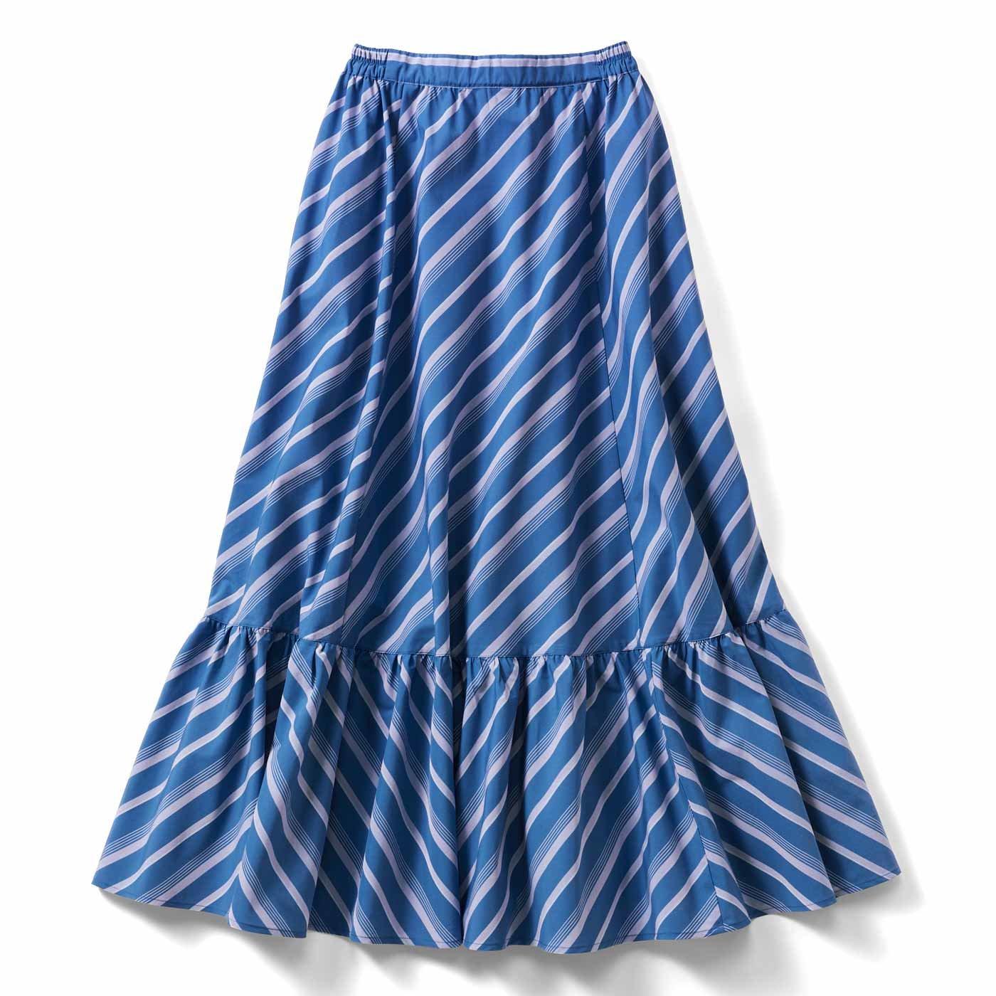 IEDIT[イディット] ストライプ柄切り替えスカート〈ネイビーブルー〉
